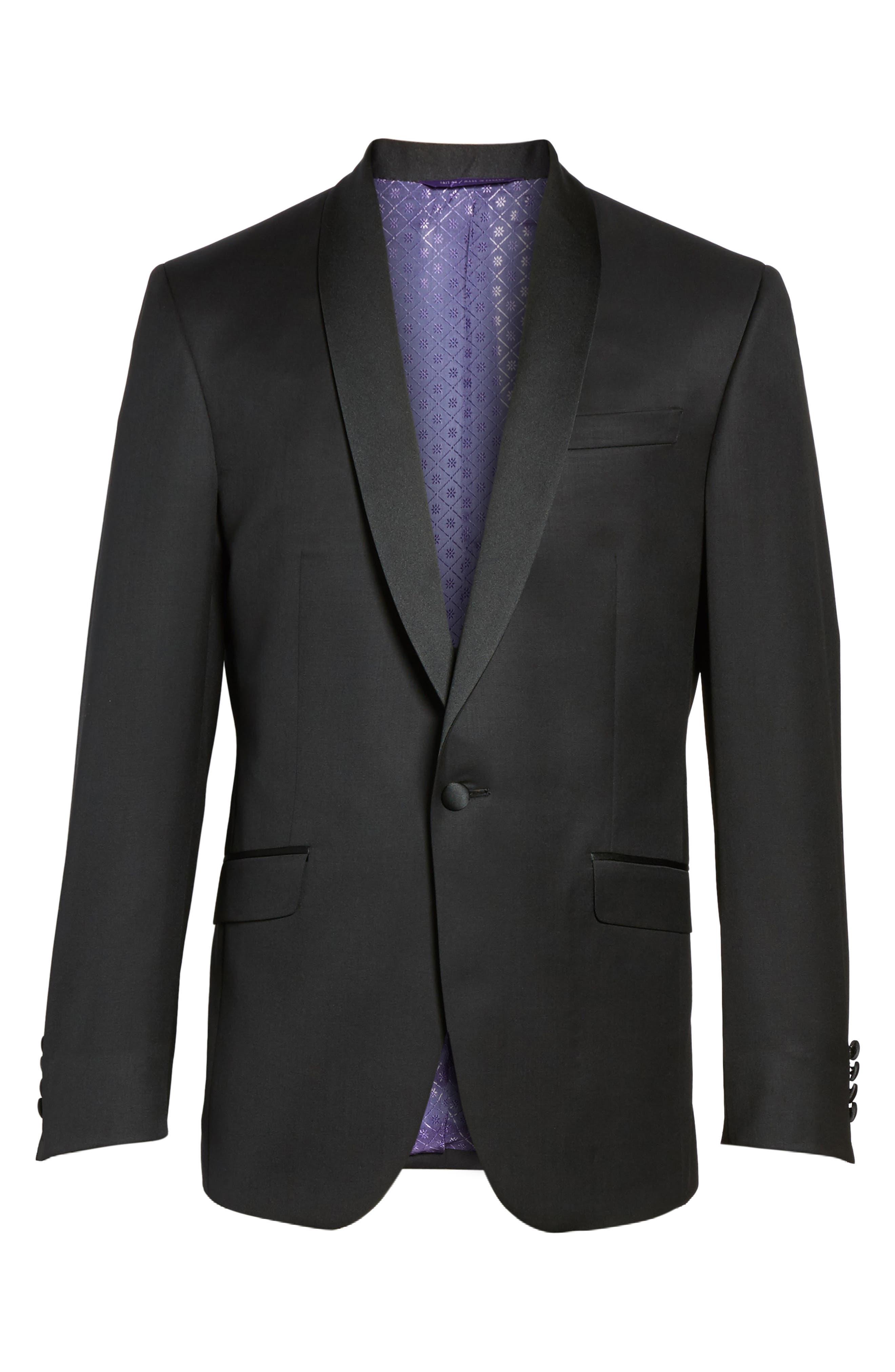 Trim Fit Wool & Mohair Dinner Jacket,                             Alternate thumbnail 5, color,                             BLACK