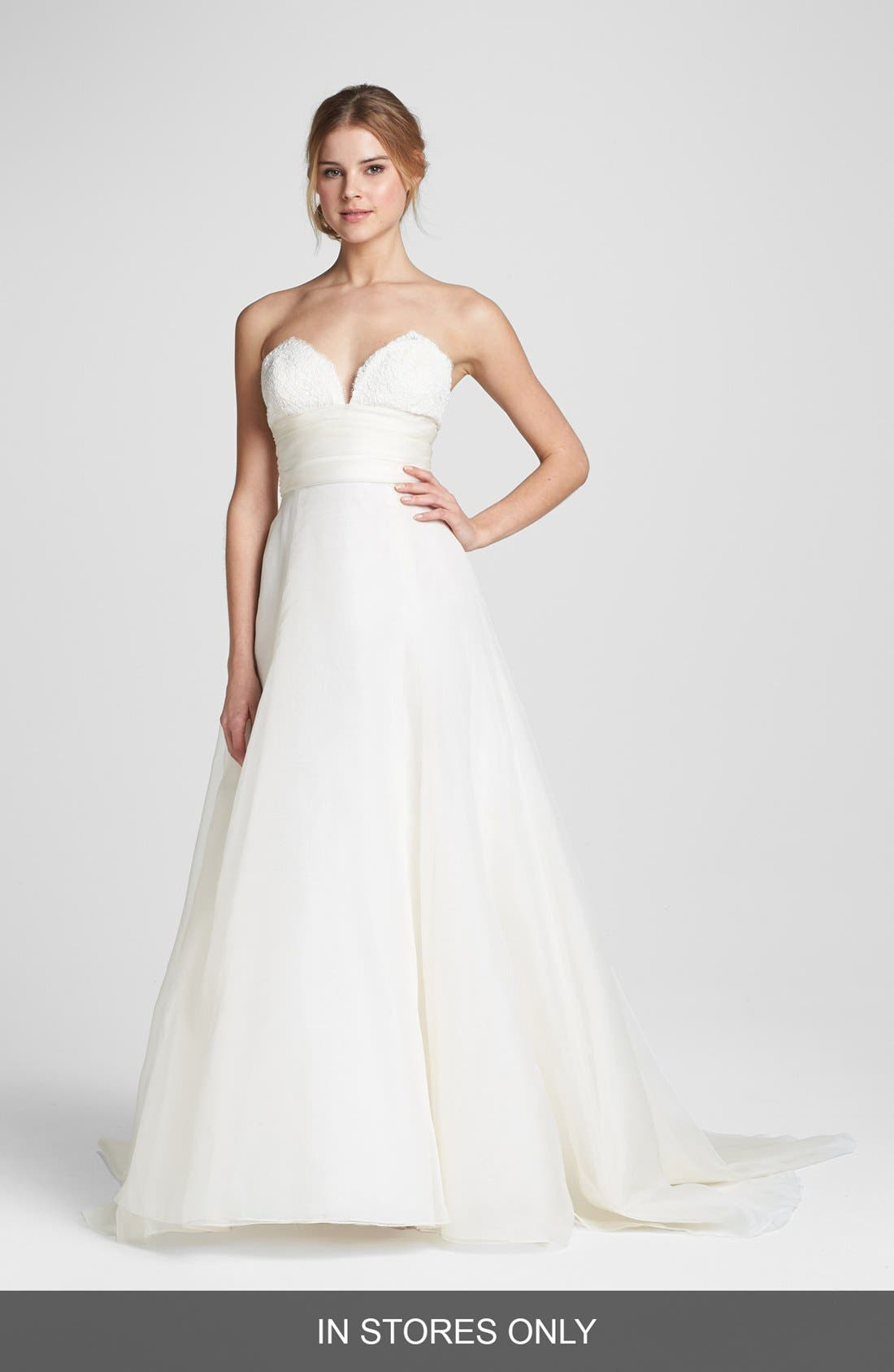 Lace & Silk Organza Ball Gown,                             Main thumbnail 1, color,                             IVORY