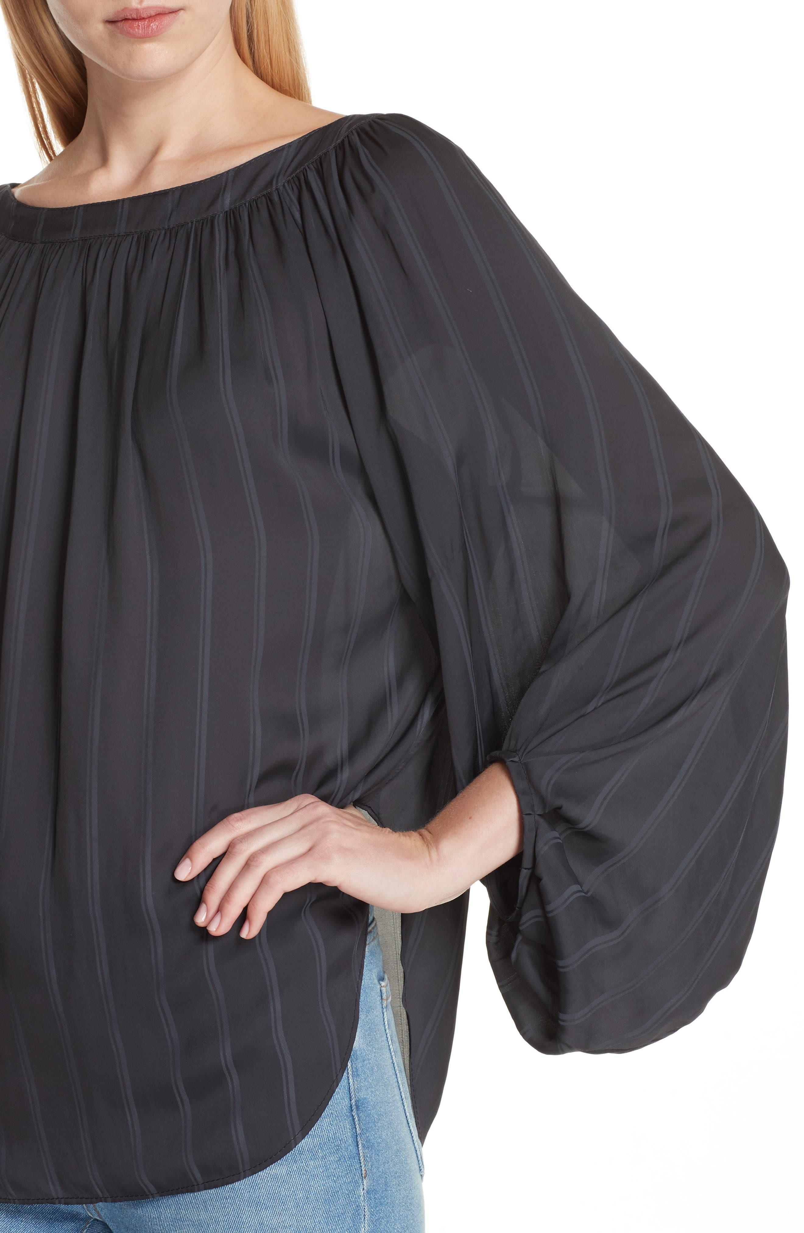Stripe Balloon Sleeve Blouse,                             Alternate thumbnail 4, color,                             BLACK SHADOW STRIPE