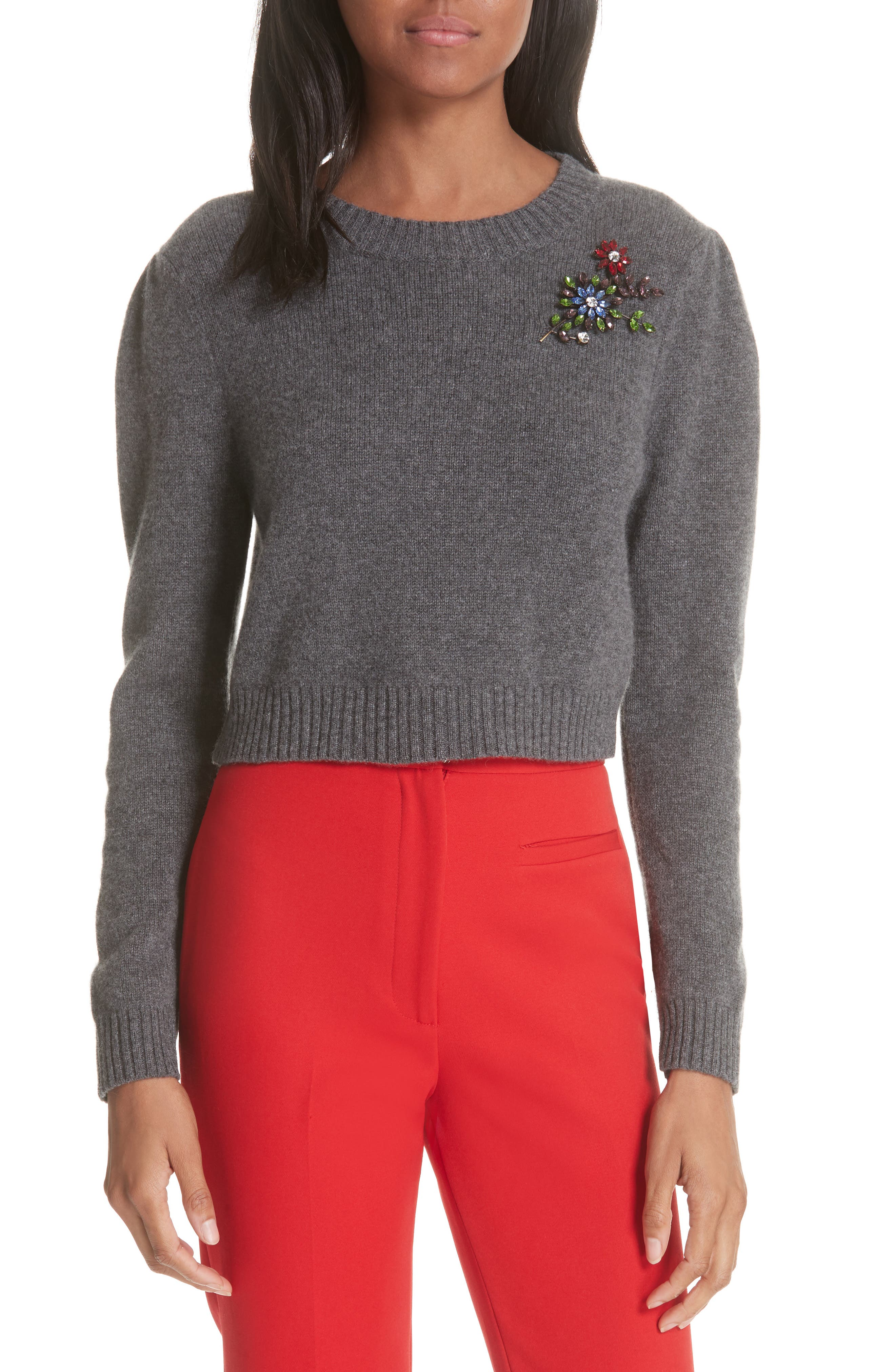 Cashmere Crop Pin Sweater,                         Main,                         color, HEATHER GREY