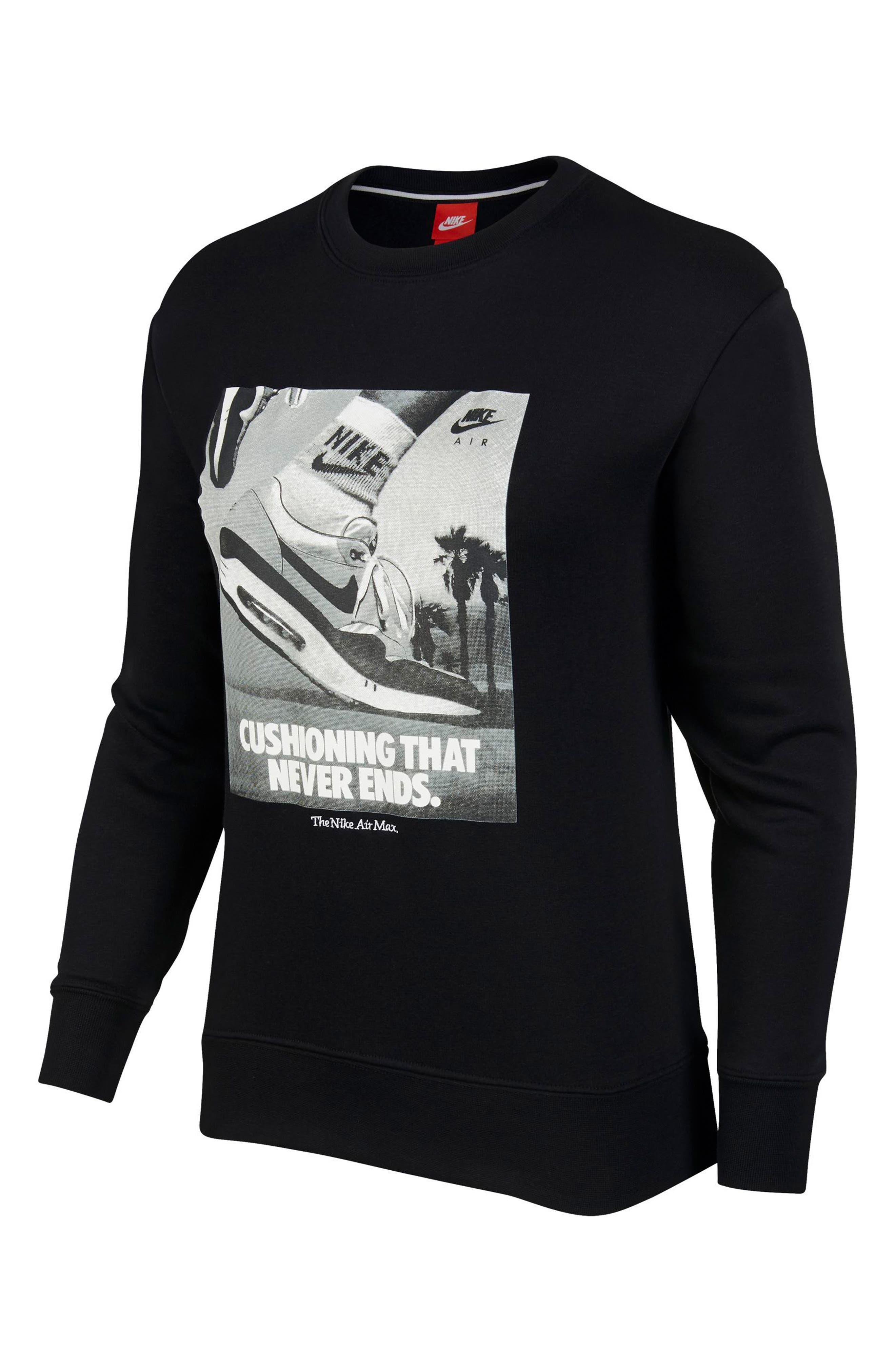Sportswear Air Max 1 Women's Graphic Crewneck Sweatshirt,                         Main,                         color, 001