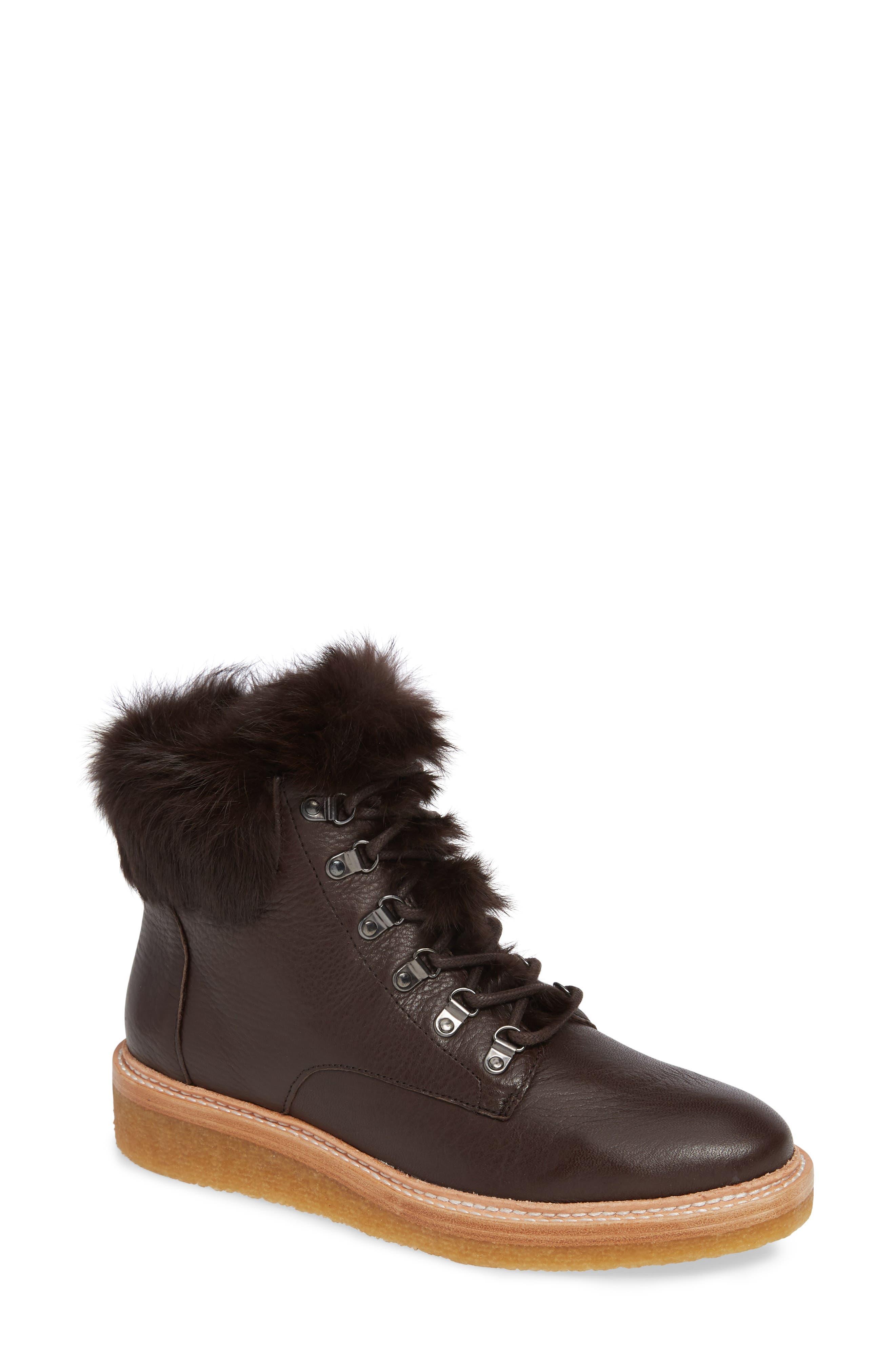 Botkier Winter Genuine Rabbit Fur Trim Boot- Brown