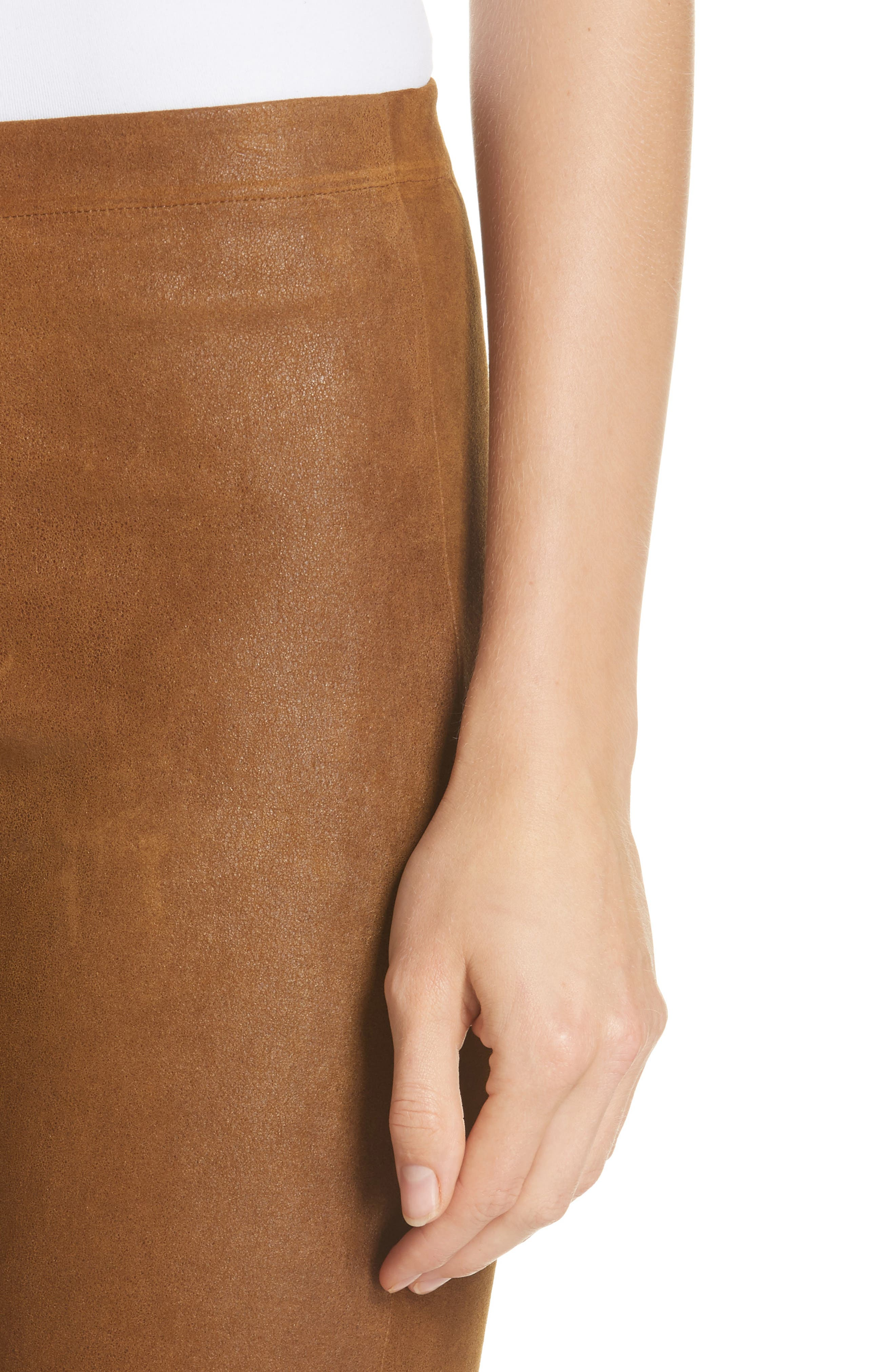 Esther Leather Leggings,                             Alternate thumbnail 4, color,                             CUMIN