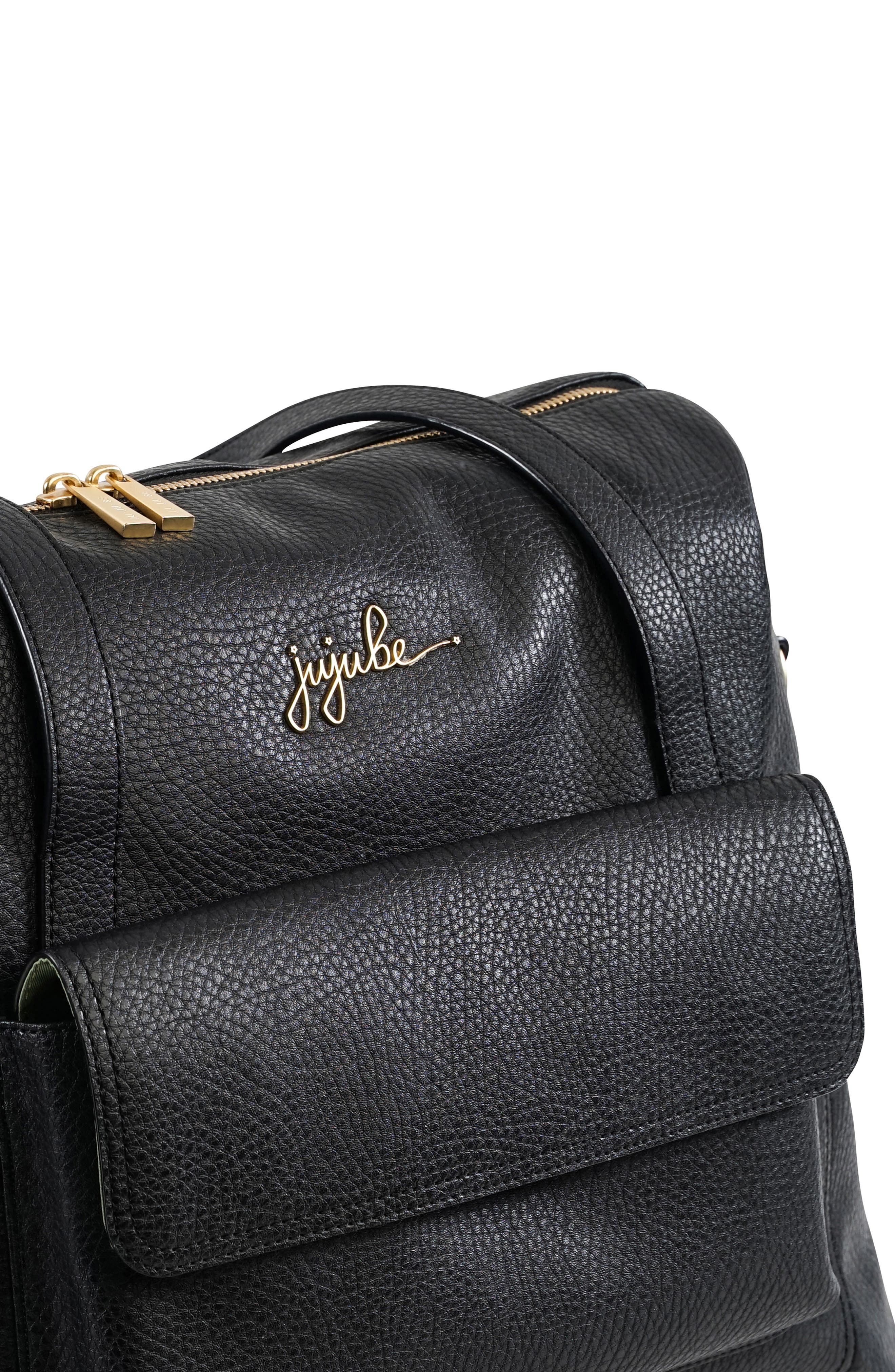 Ever Collection Wherever Faux Leather Weekend Diaper Bag,                             Alternate thumbnail 6, color,                             NOIR