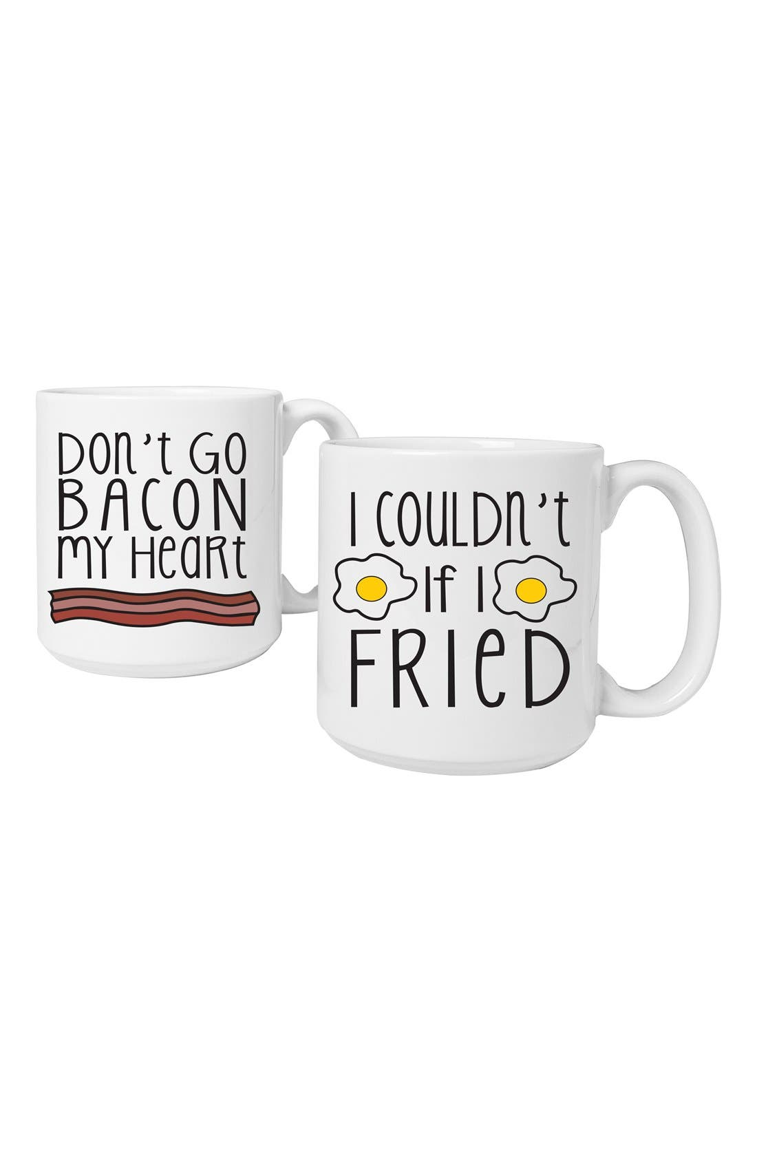 CATHY'S CONCEPTS,                             'Bacon & Eggs' Ceramic Coffee Mugs,                             Main thumbnail 1, color,                             100
