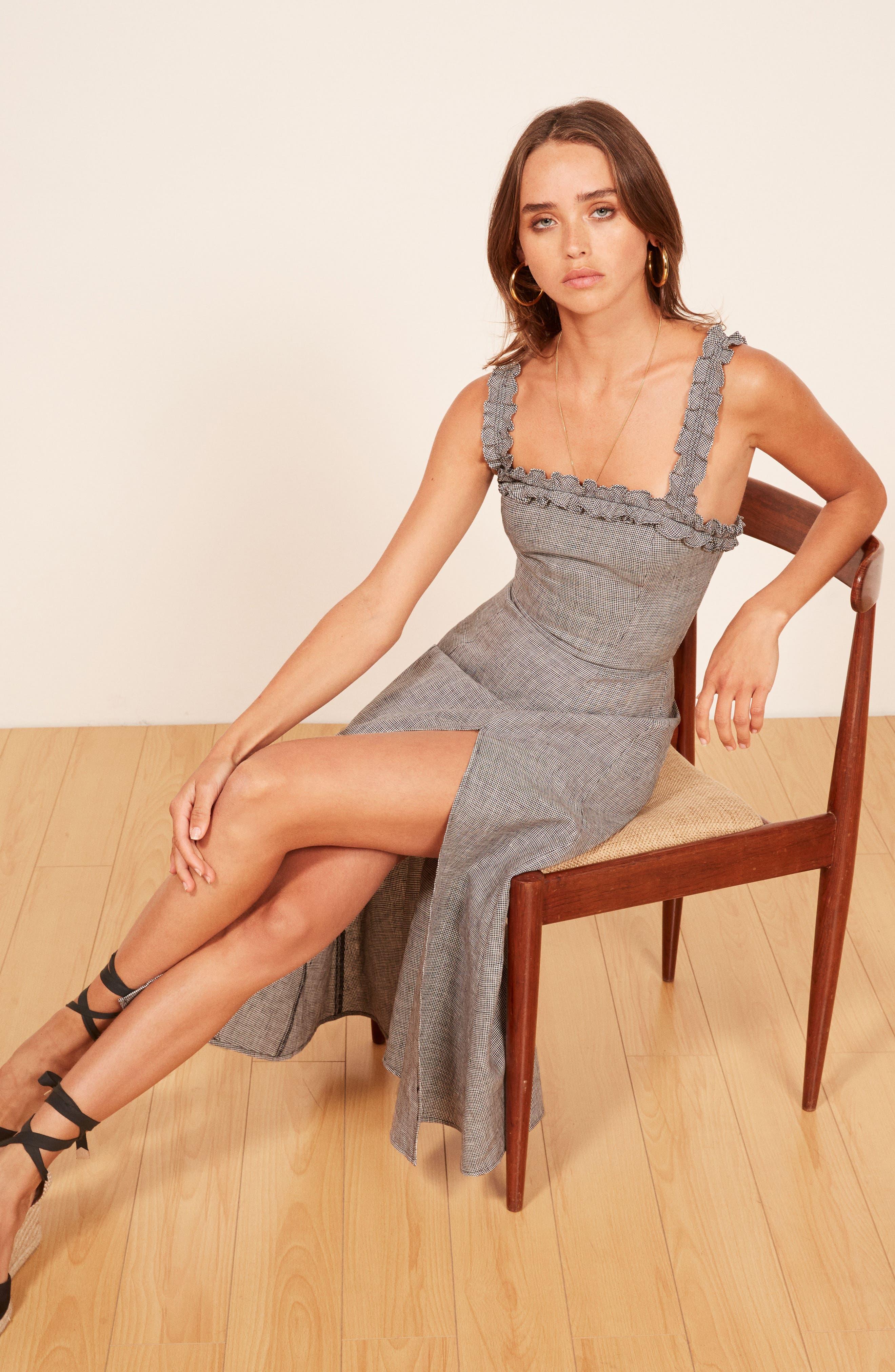 REFORMATION,                             Lavender Front Slit Linen Midi Dress,                             Alternate thumbnail 4, color,                             001