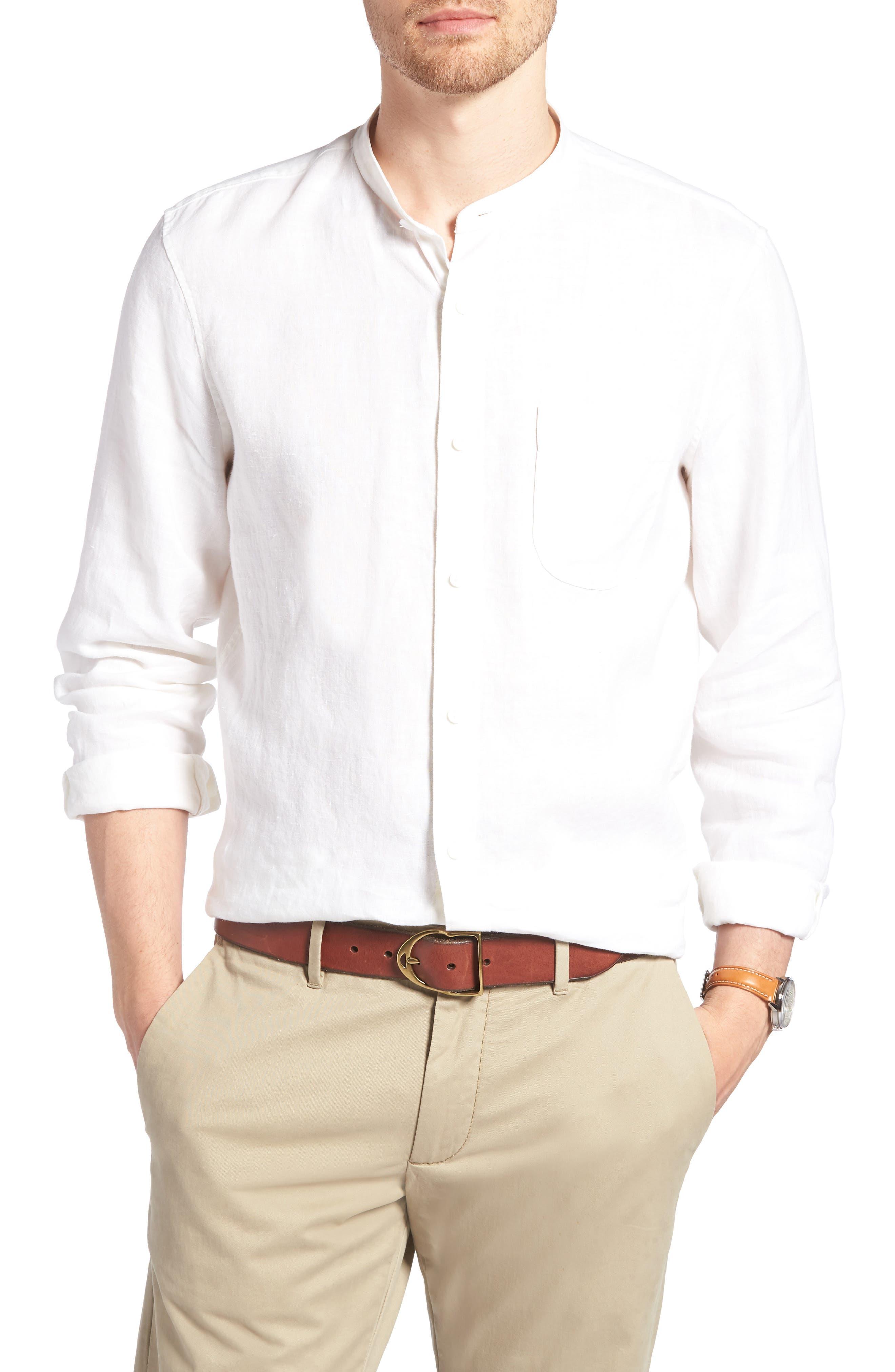 Band Collar Linen Sport Shirt,                         Main,                         color, 100