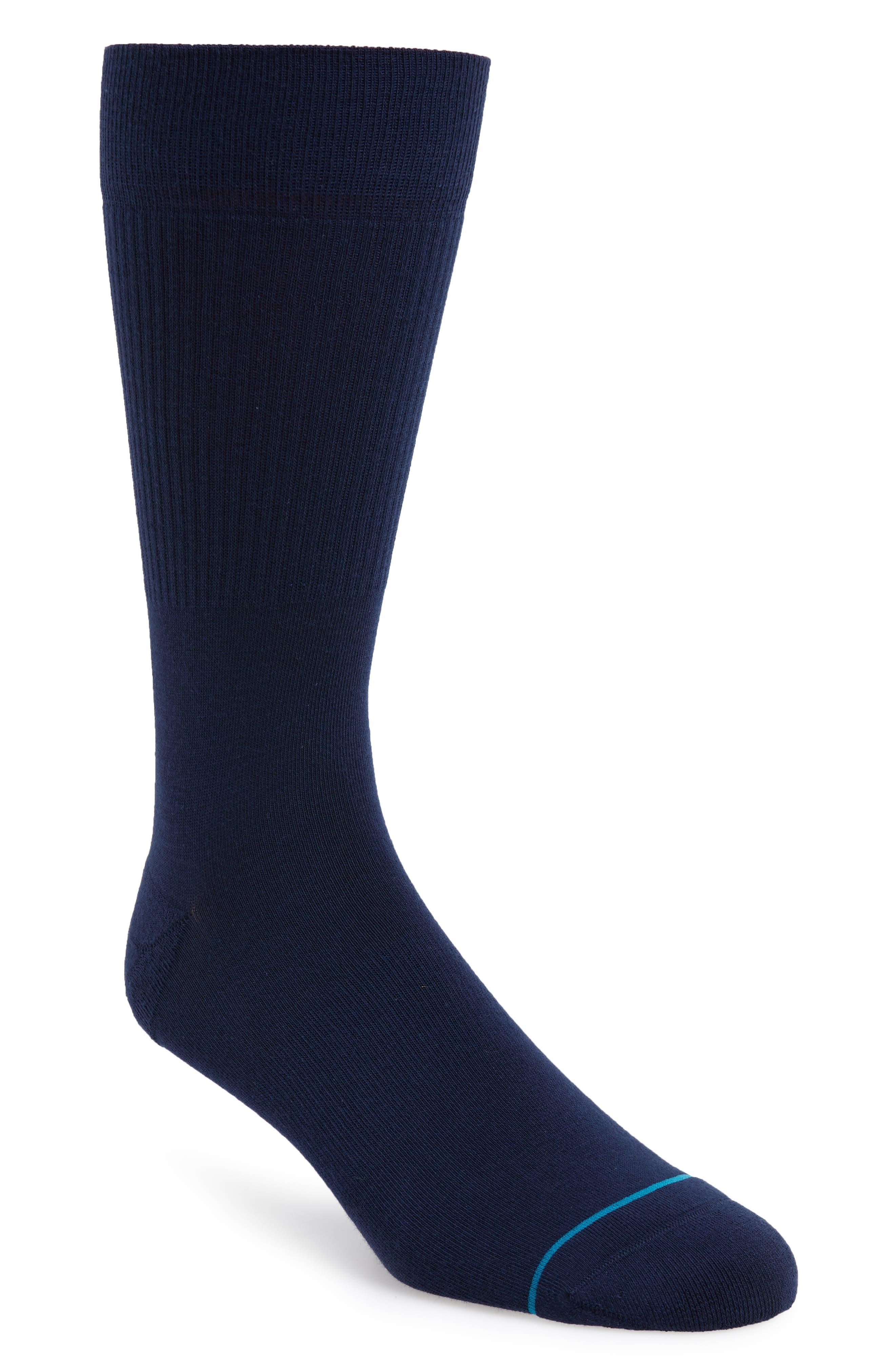 Fashion Icon Crew Socks,                             Main thumbnail 1, color,                             NAVY