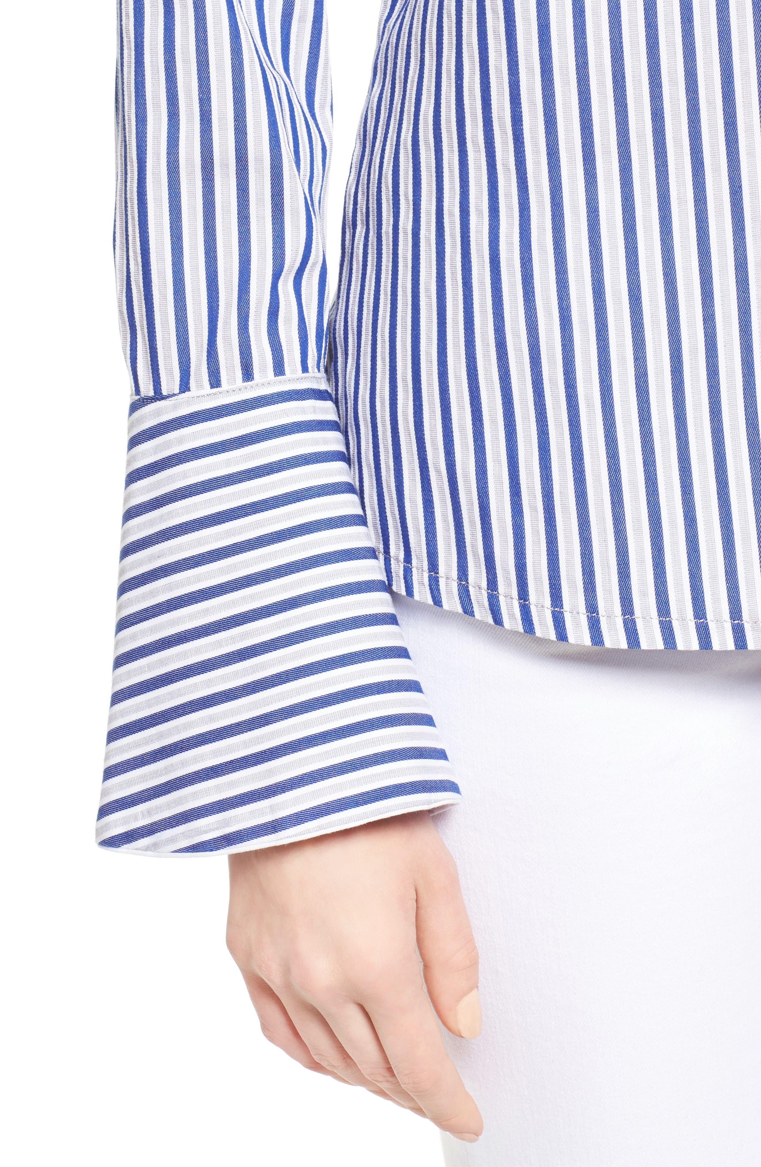 Luz Stripe Bell Cuff Shirt,                             Alternate thumbnail 4, color,                             494