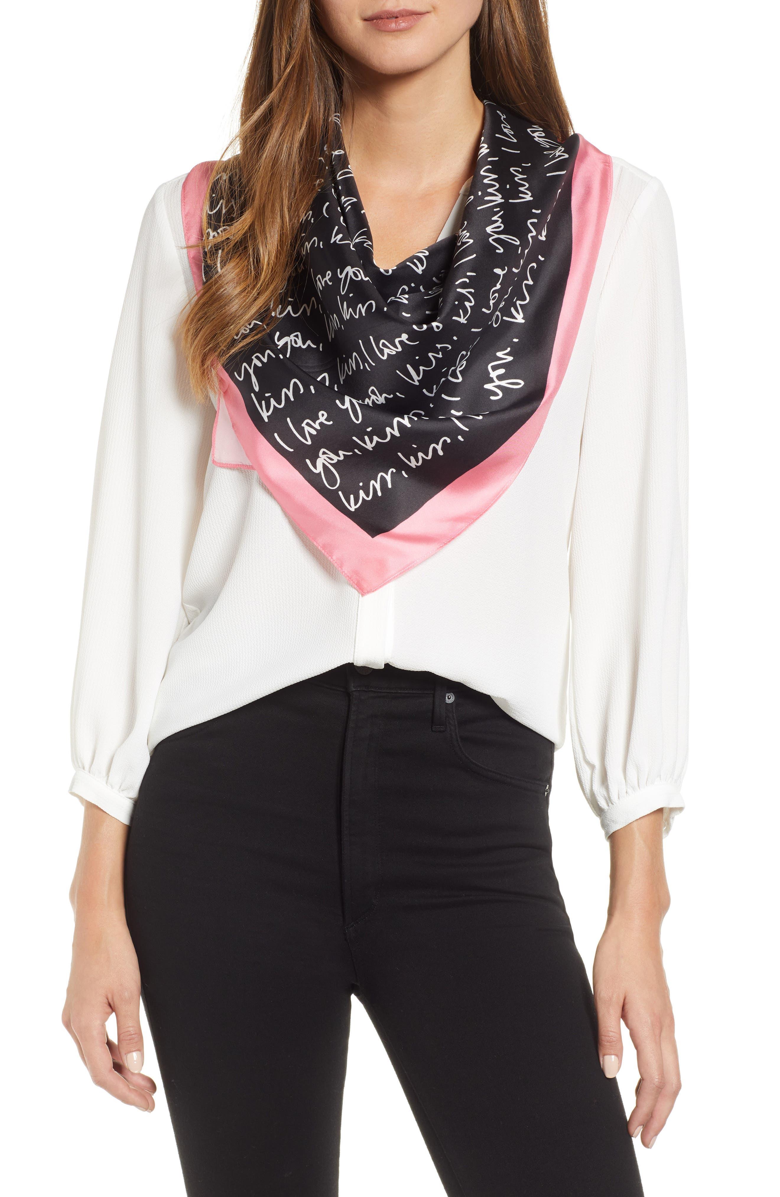 KATE SPADE NEW YORK sweetheart i love you square silk scarf, Main, color, BLACK