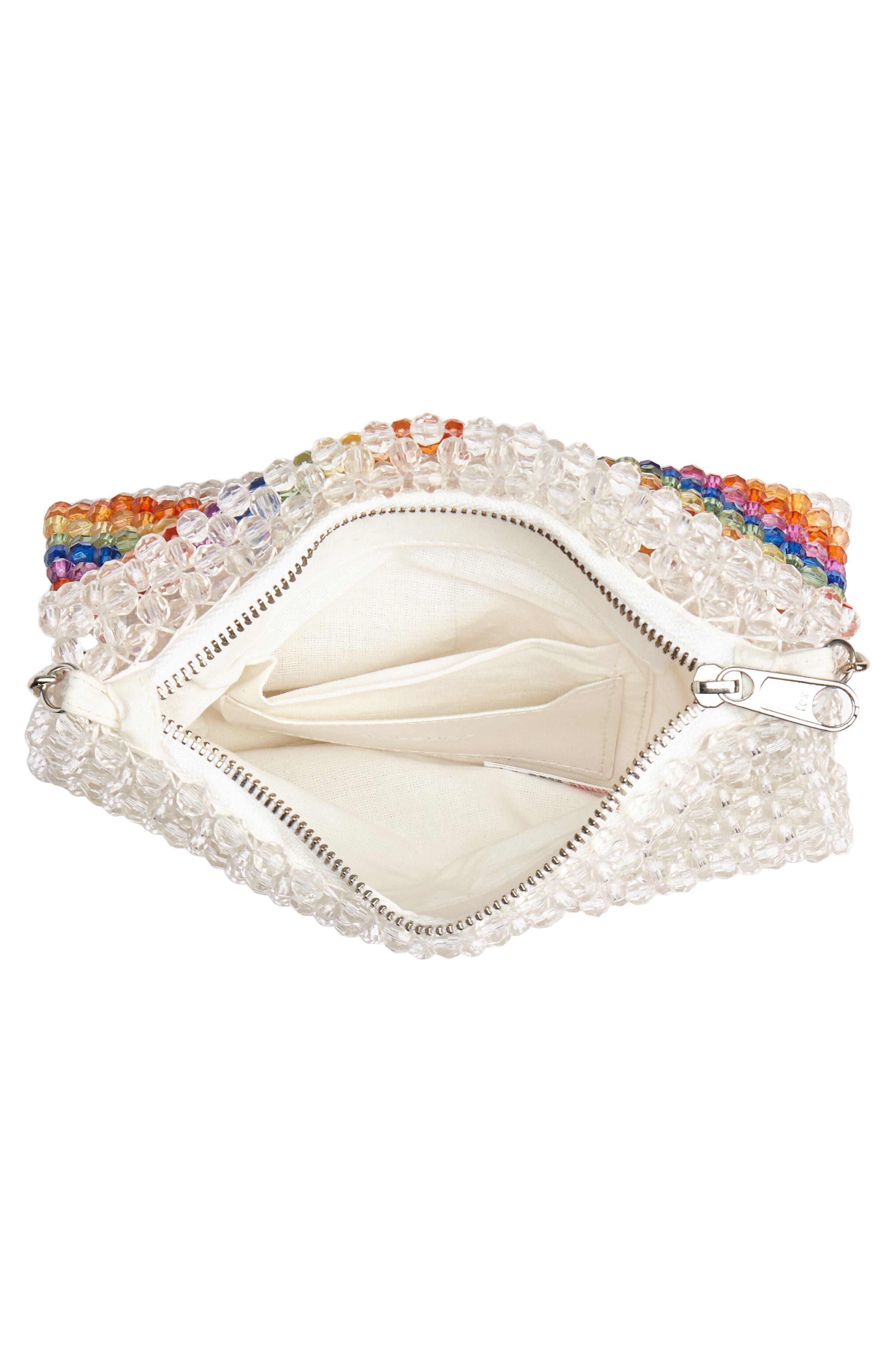 Zizi Beaded Rainbow Shoulder Bag,                             Alternate thumbnail 4, color,                             100