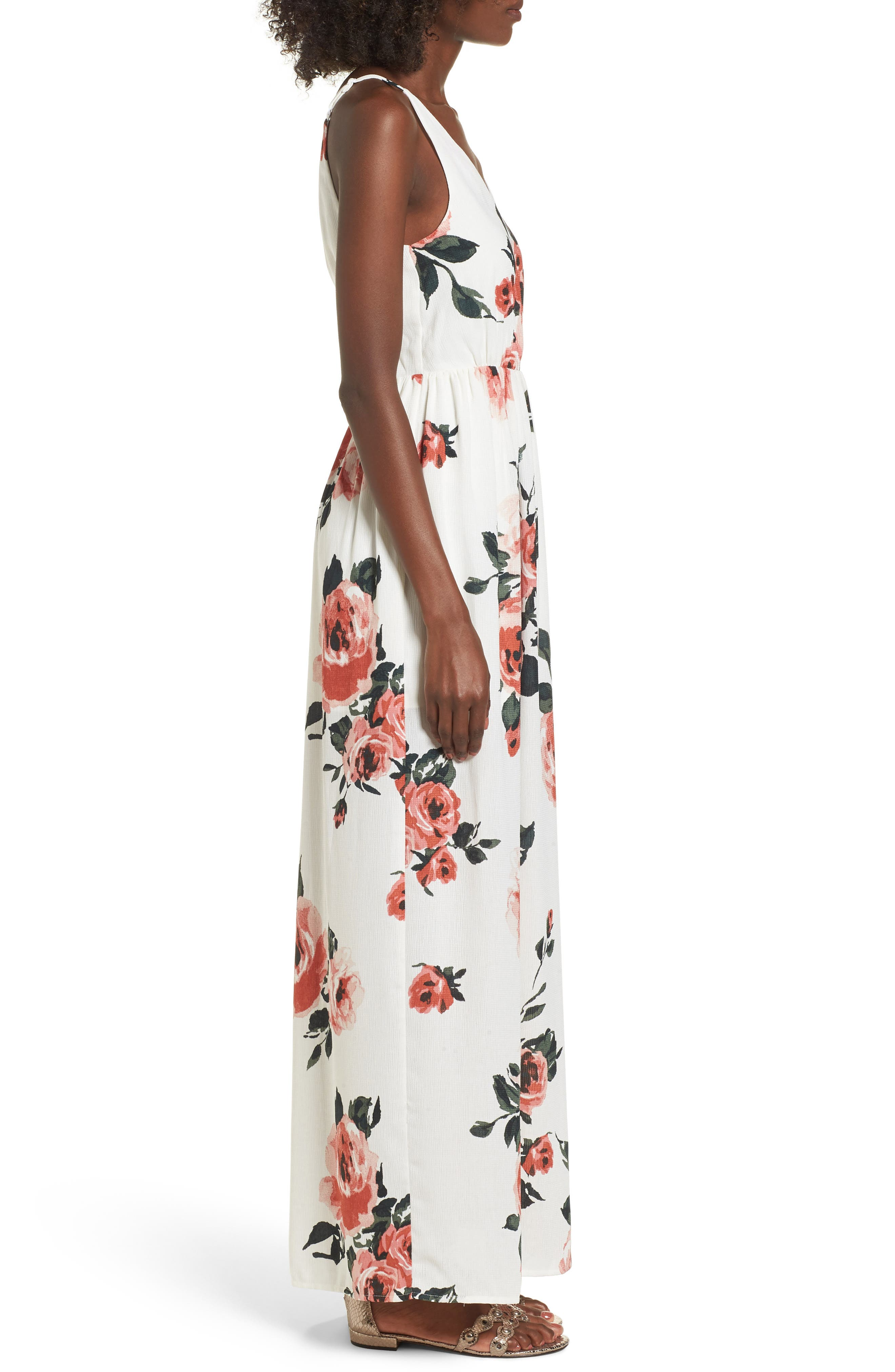 Floral Print Maxi Dress,                             Alternate thumbnail 3, color,                             100
