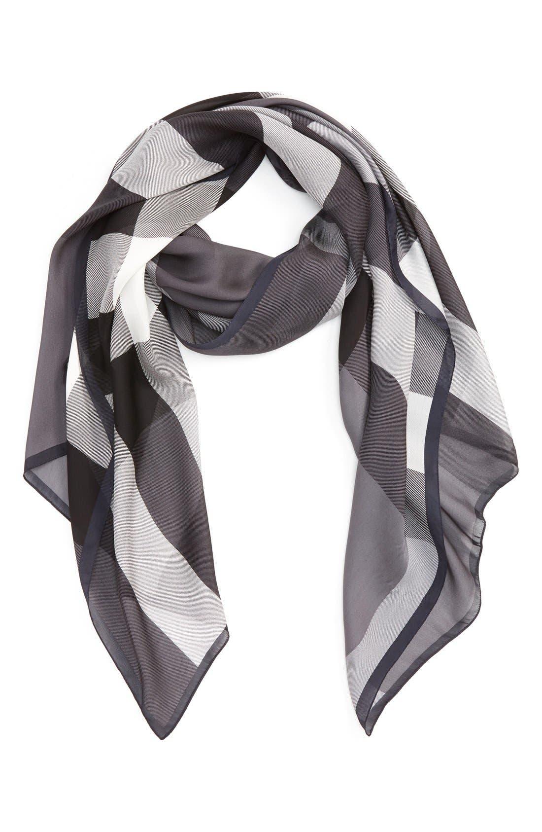 Mega Check Silk Scarf,                         Main,                         color, 020