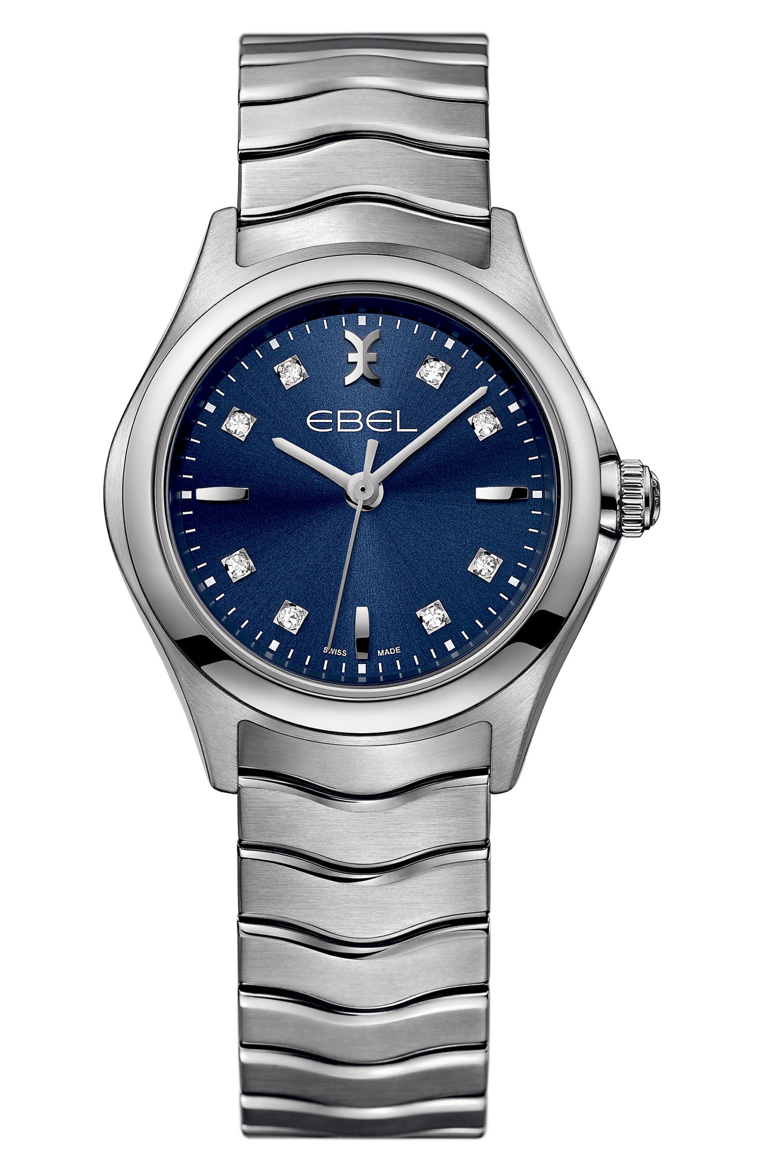 Wave Bracelet Watch, 30mm,                         Main,                         color, SILVER/ BLUE/ SILVER