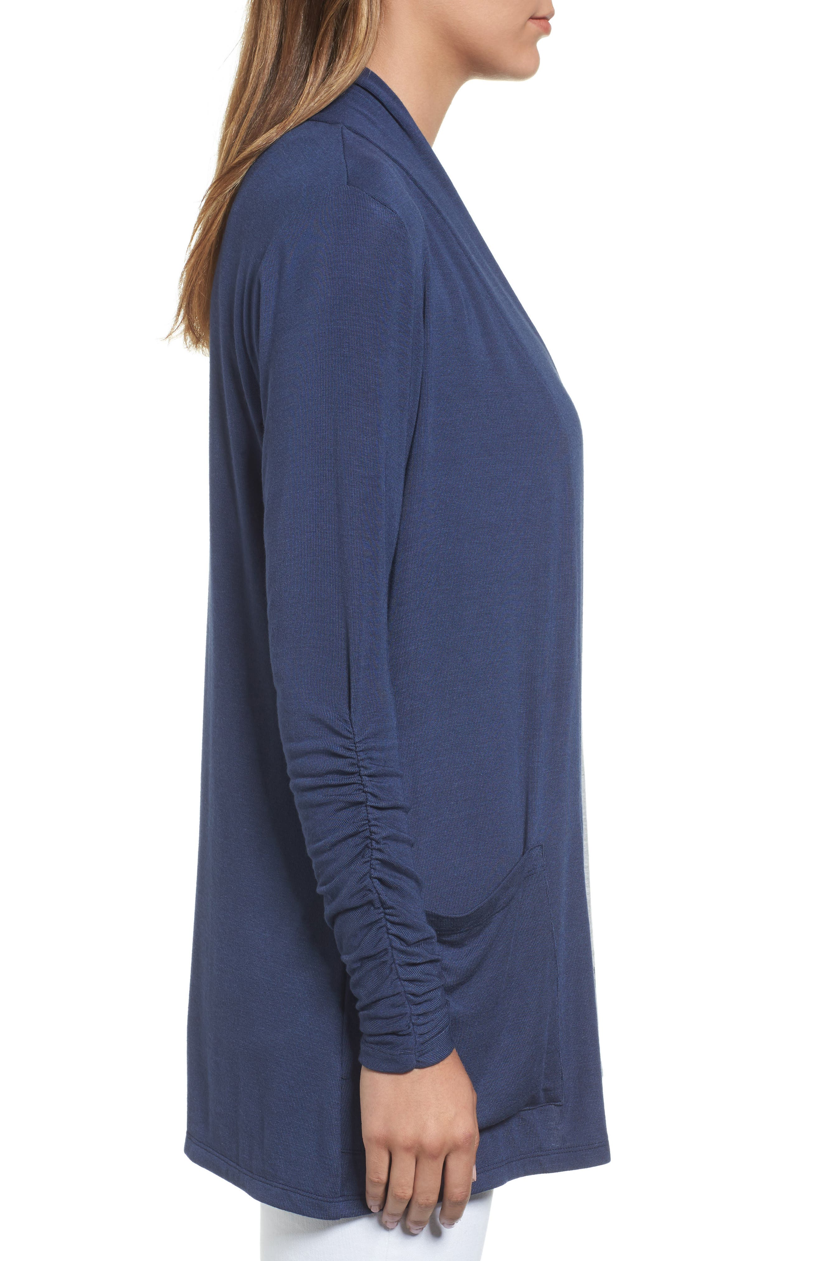 Ruched Sleeve Cardigan,                             Alternate thumbnail 3, color,                             NAVY