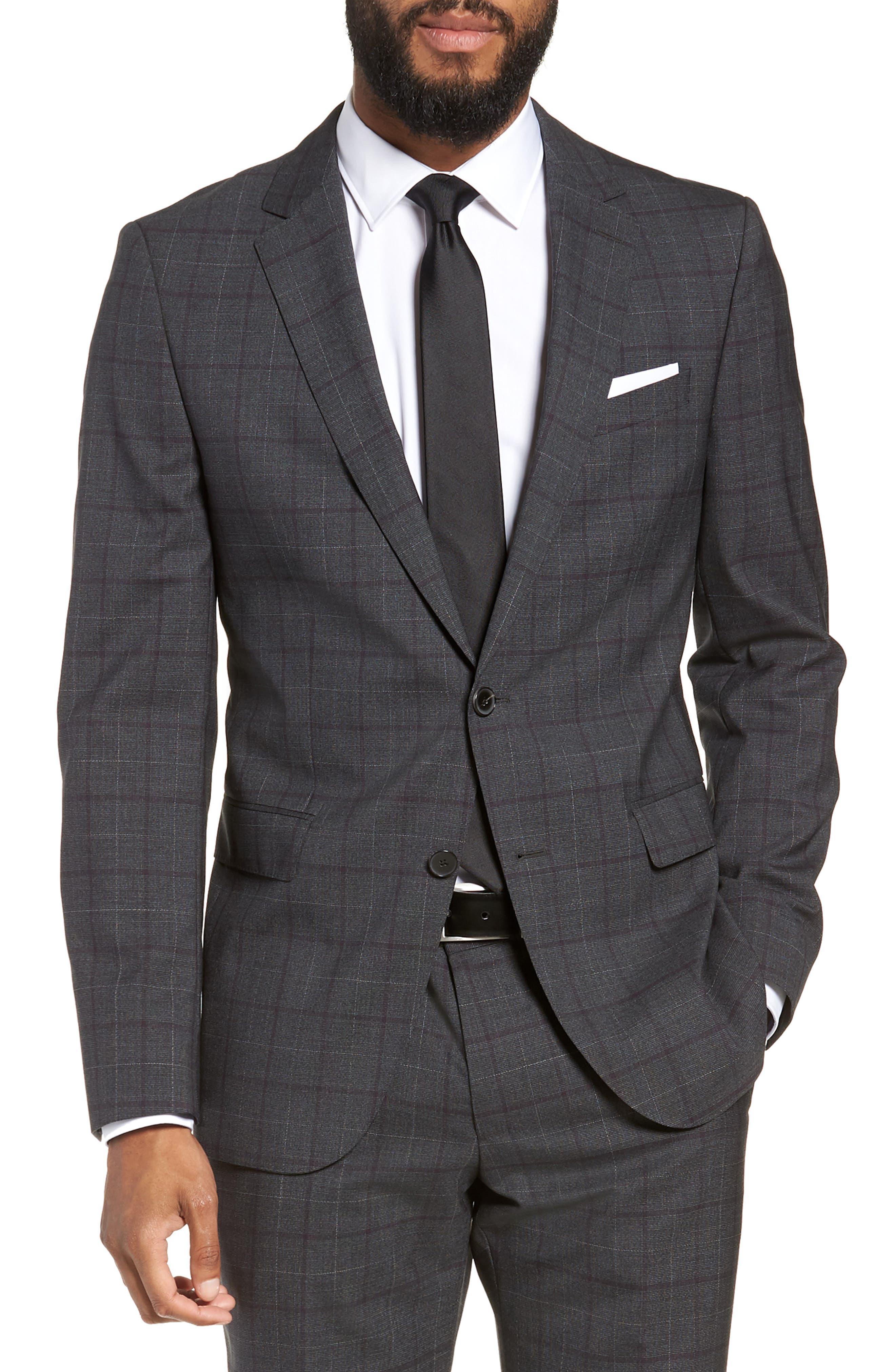 BOSS,                             Novan/Ben Trim Fit Plaid Wool Suit,                             Alternate thumbnail 5, color,                             506