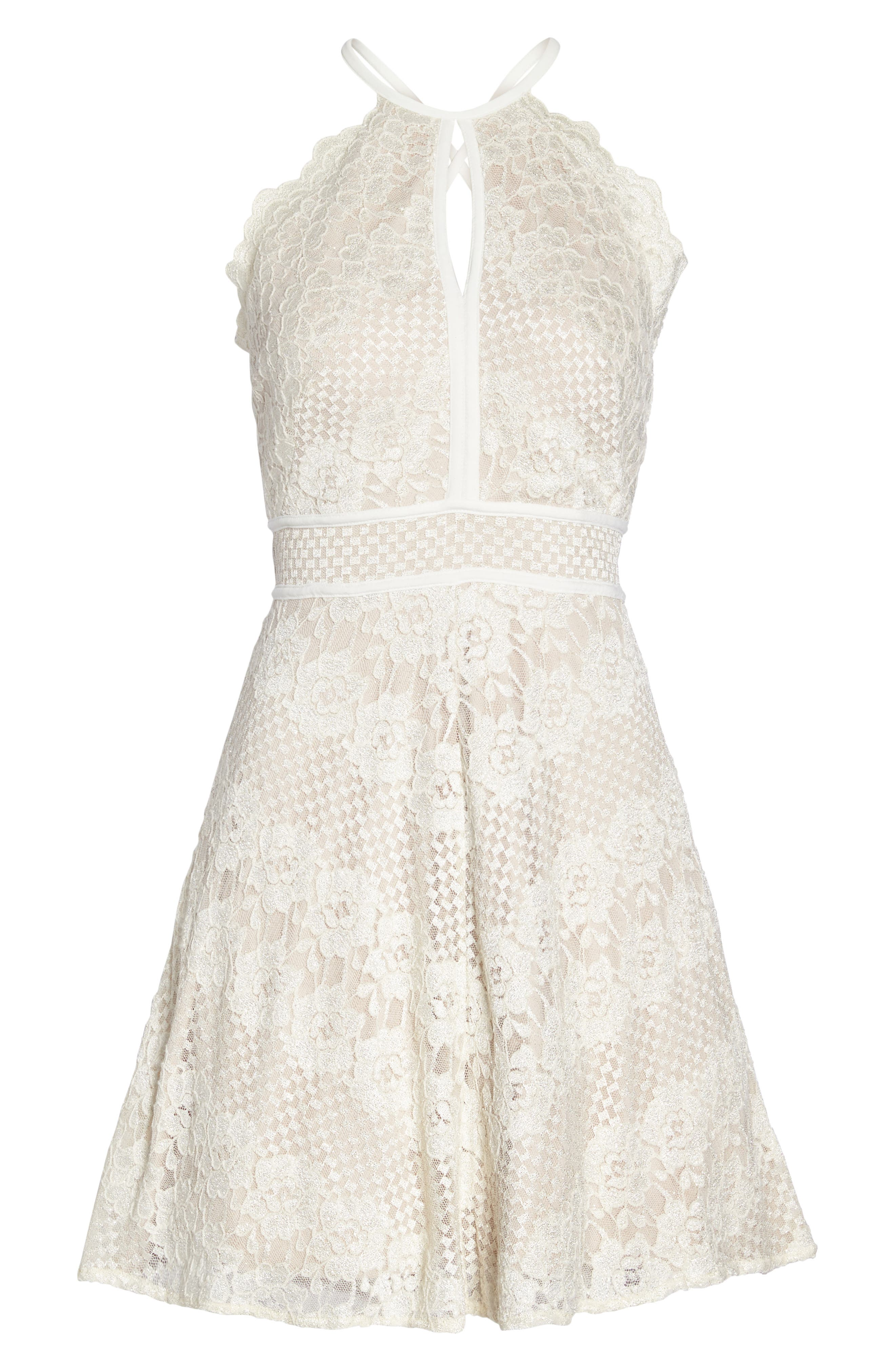 Lace Halter Dress,                             Alternate thumbnail 6, color,                             IVORY/ NUDE
