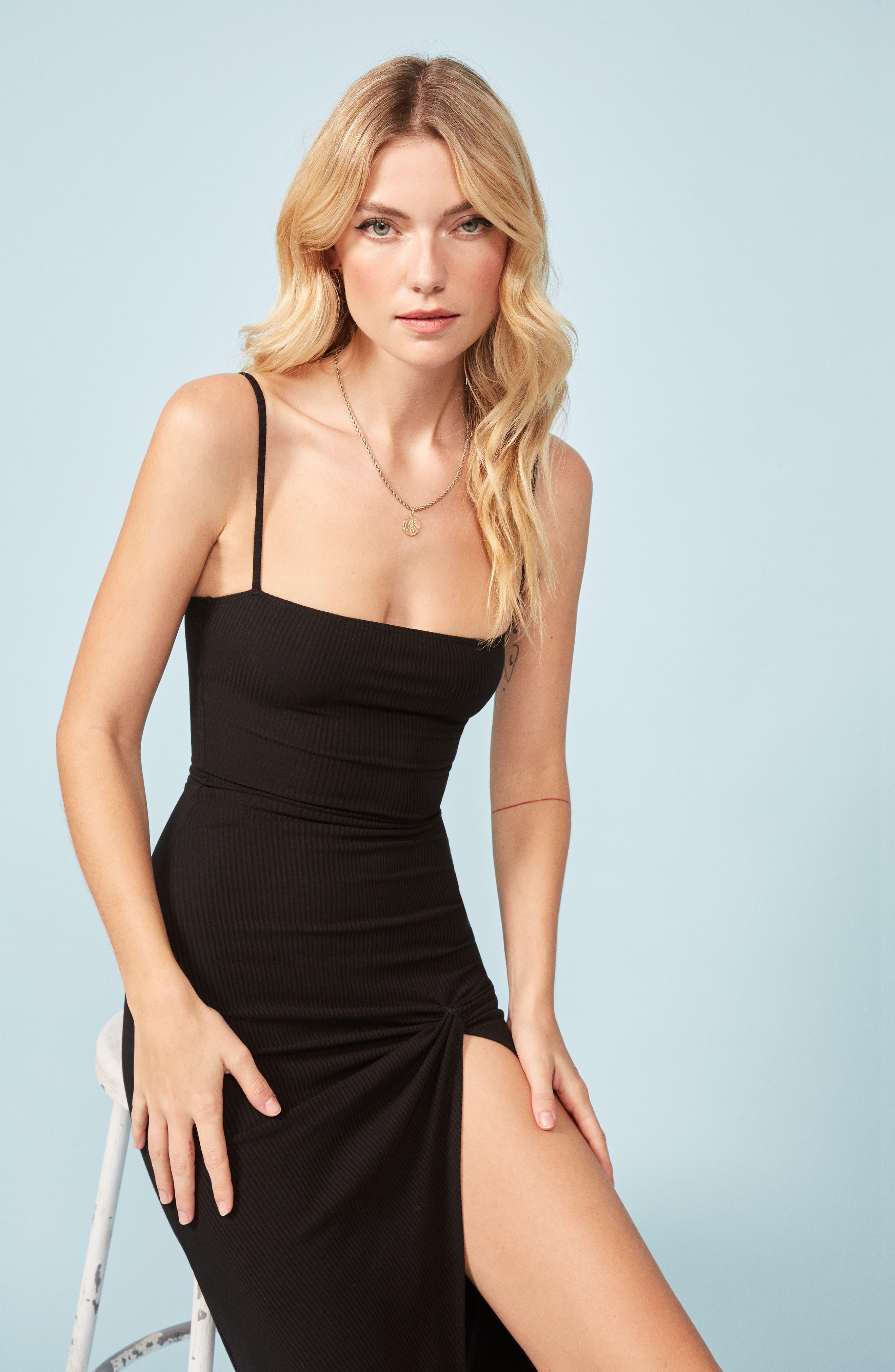 Scala Ribbed Body-Con Midi Dress,                             Alternate thumbnail 2, color,                             BLACK