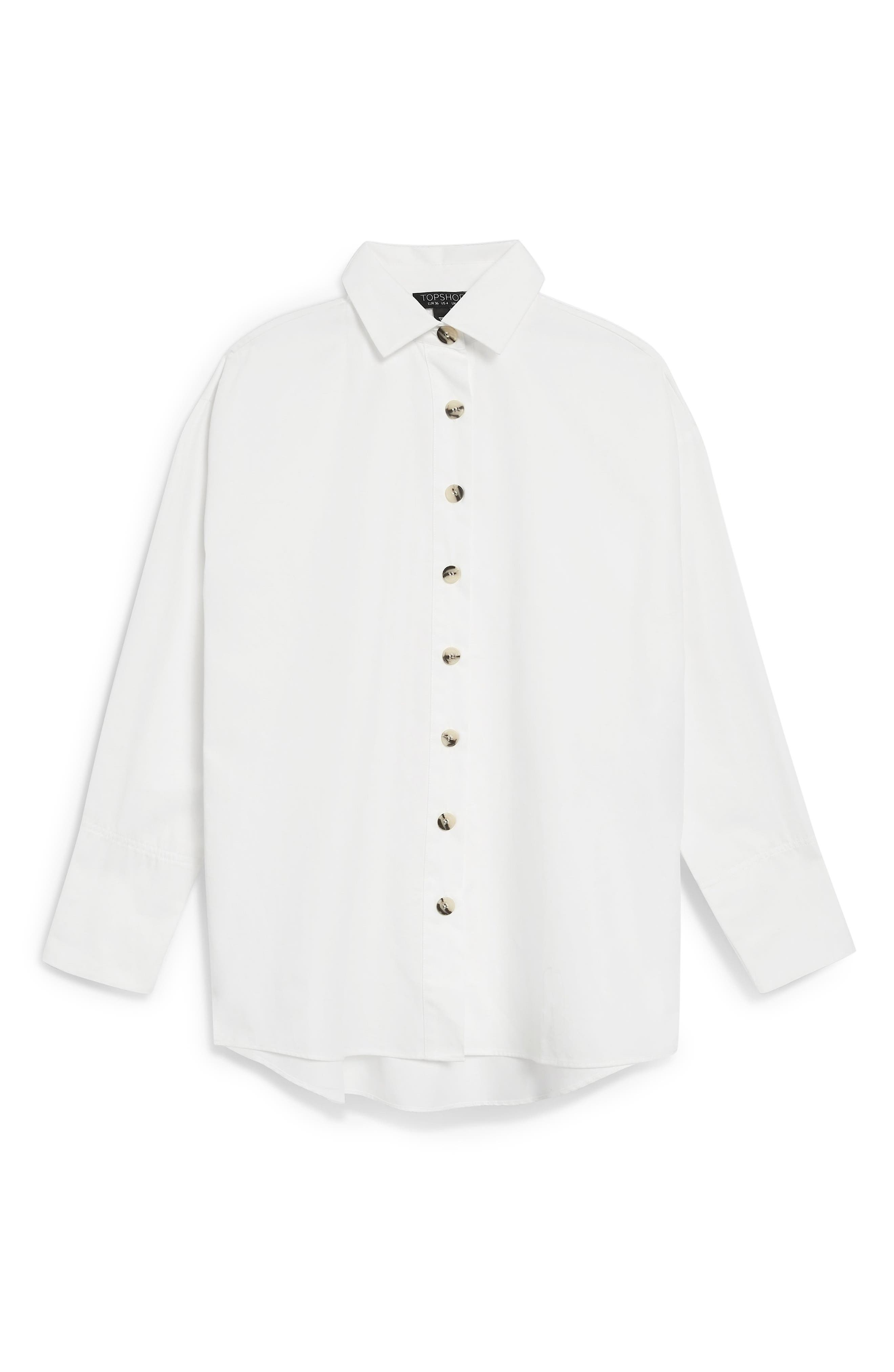 Oversized Split Side Cotton Shirt,                             Alternate thumbnail 5, color,                             CREAM