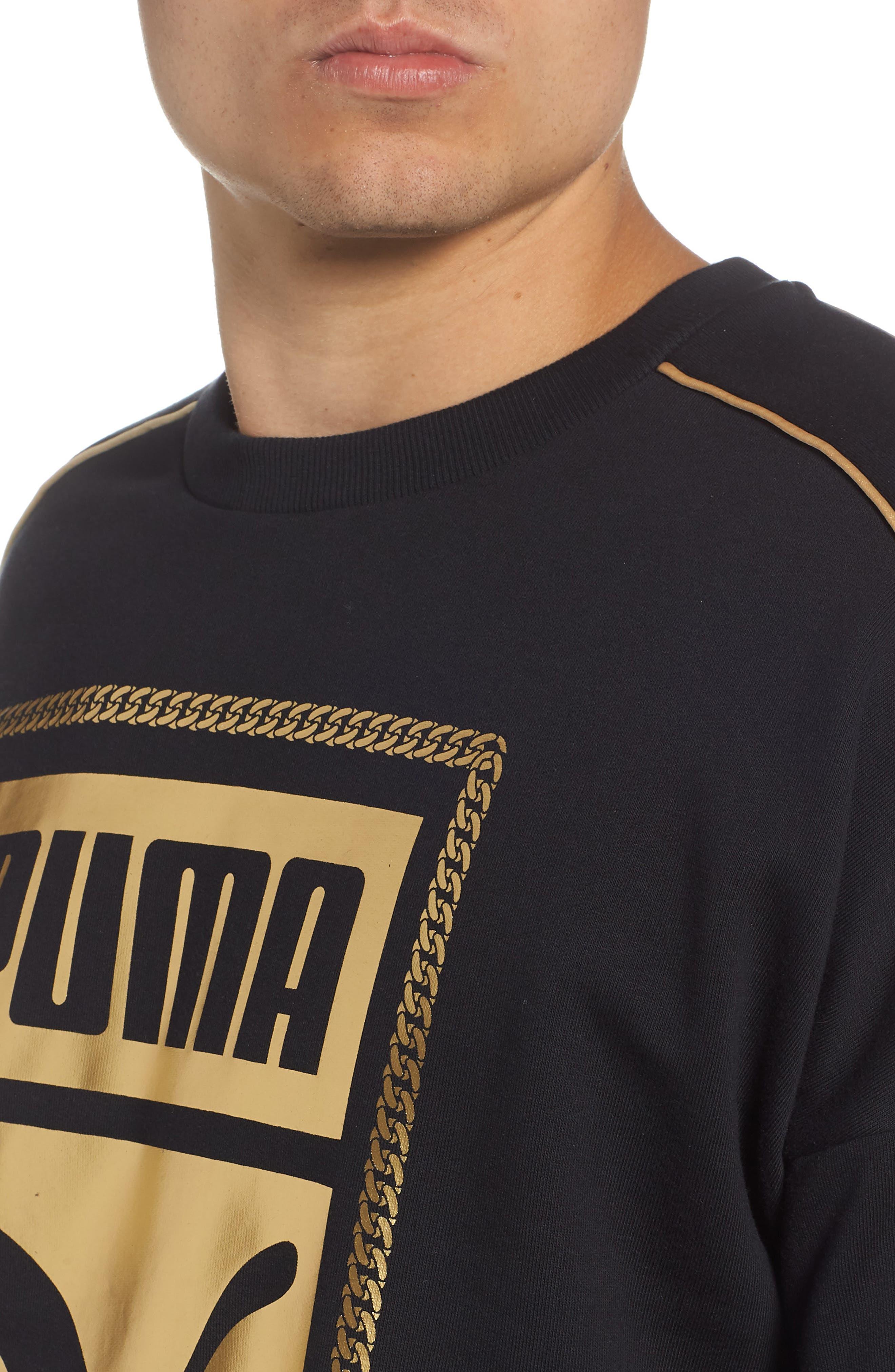Chains Logo Graphic Sweatshirt,                             Alternate thumbnail 4, color,                             PUMA BLACK