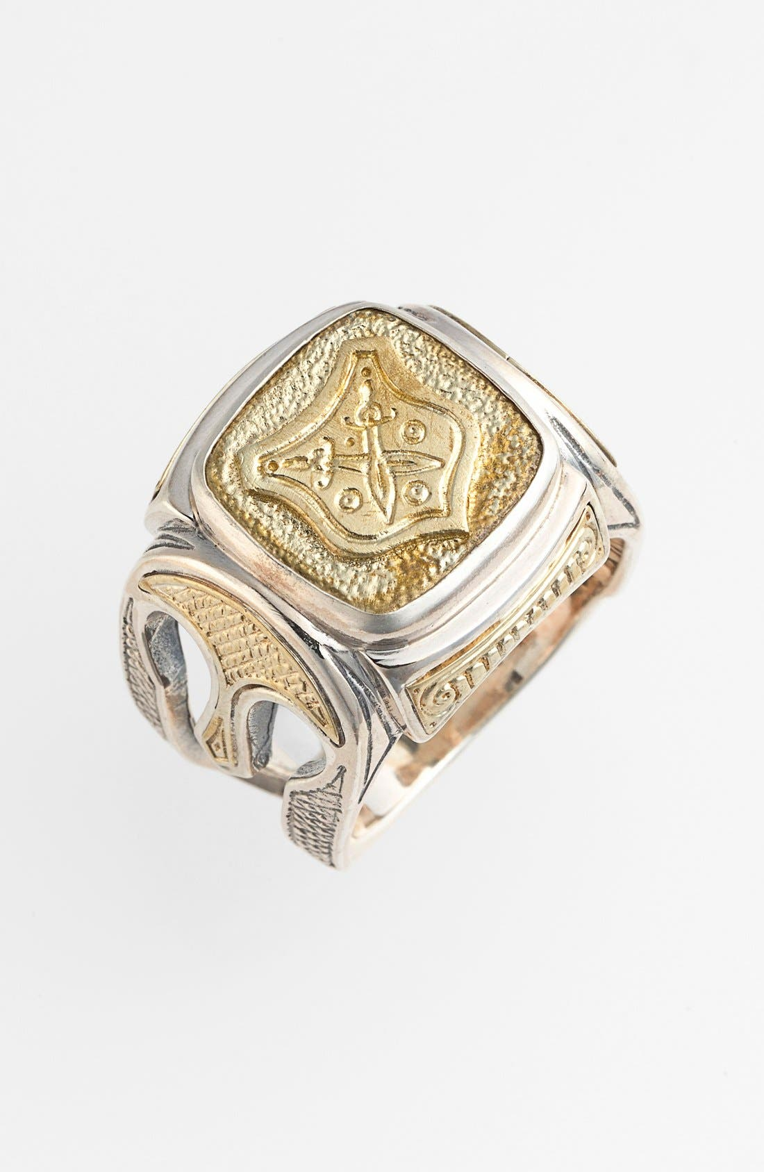 'Byzantium' Two-Tone Rectangle Shield Ring,                         Main,                         color, SILVER