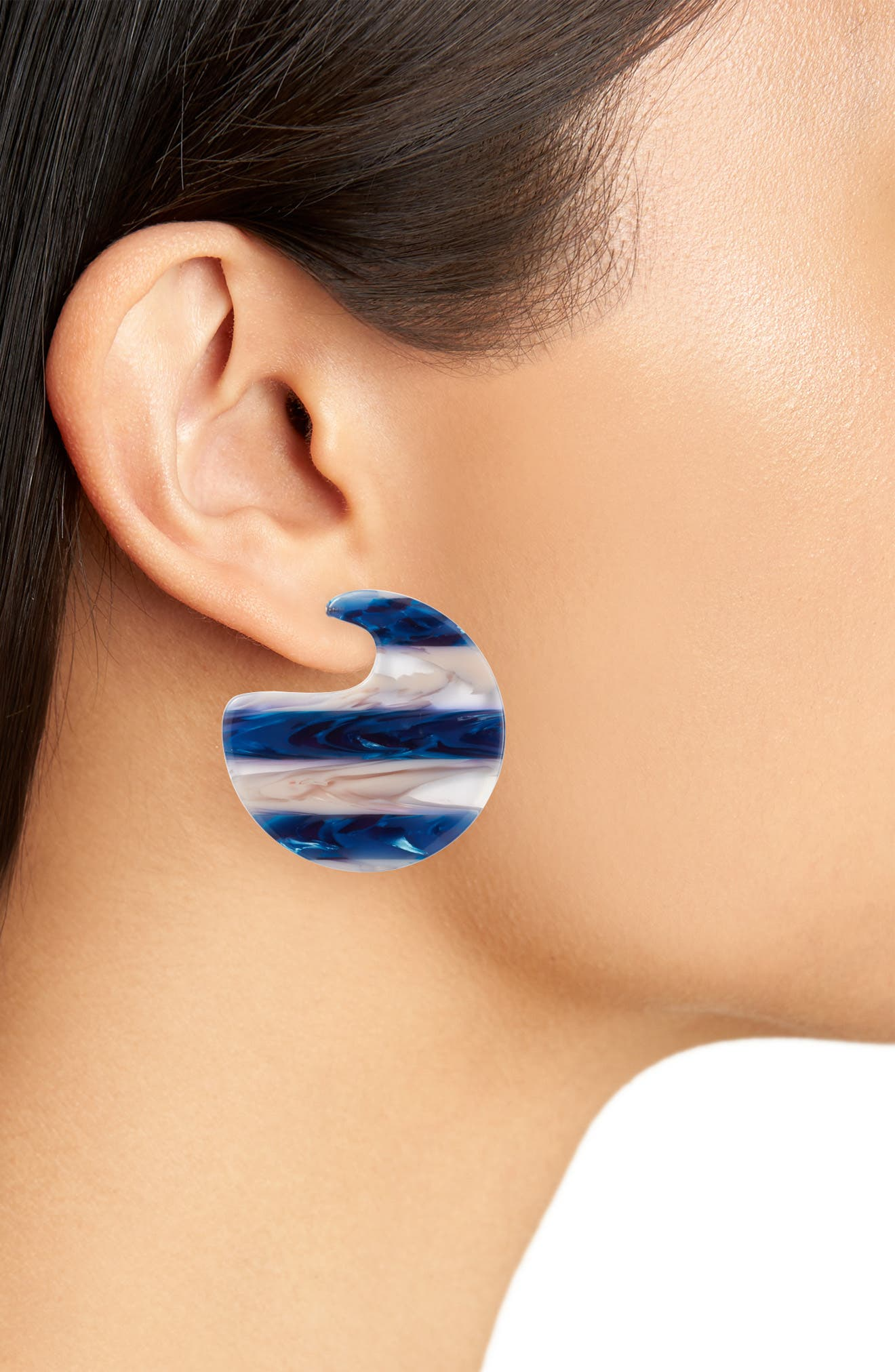 Stripe Half Hoop Earrings,                             Alternate thumbnail 2, color,                             BLUE