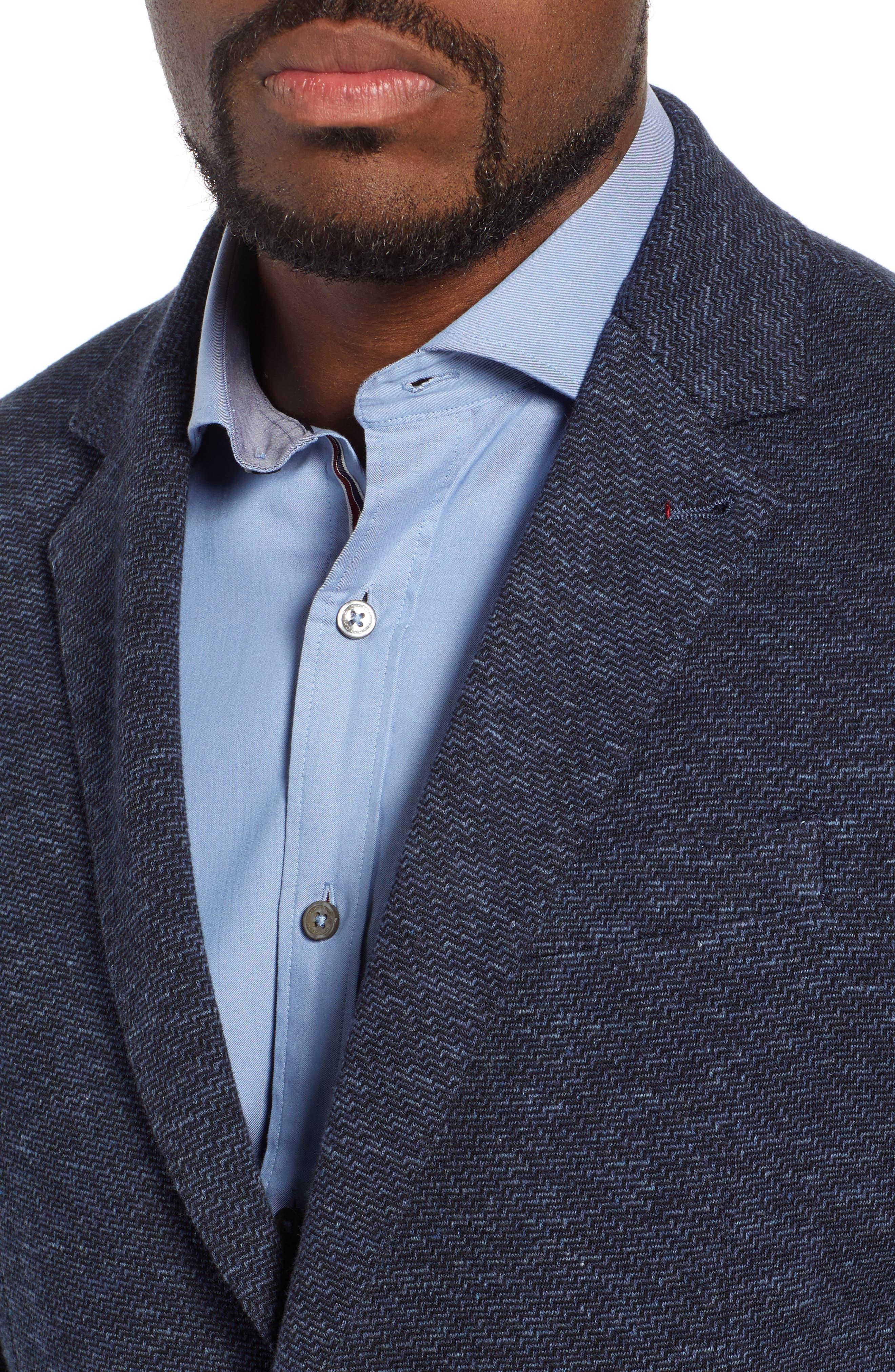 Stretch Cotton Knit Sport Coat,                             Alternate thumbnail 4, color,                             DENIM