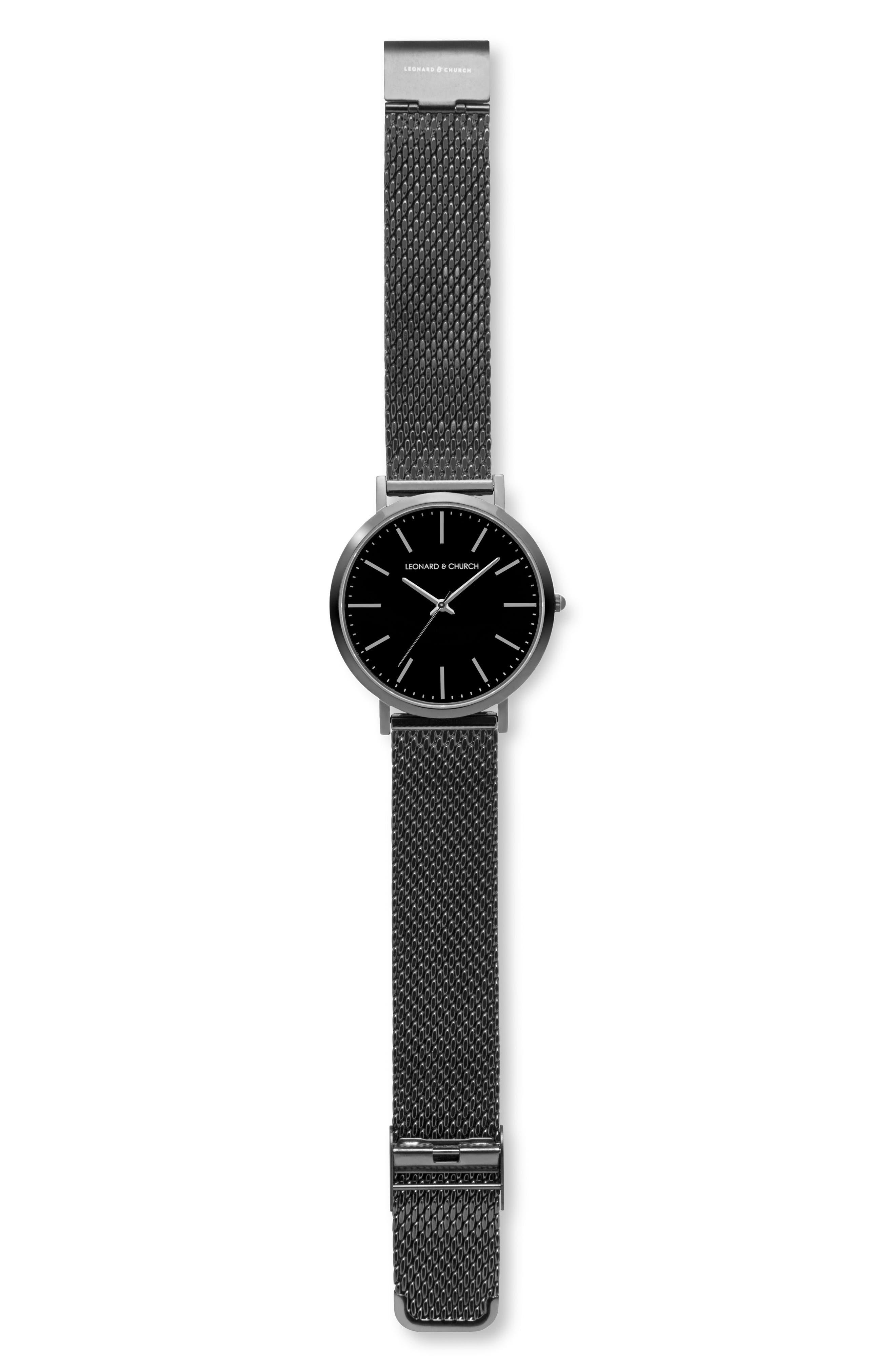 Leonard & Church Essex Mesh Strap Watch, 40mm,                             Alternate thumbnail 4, color,                             001