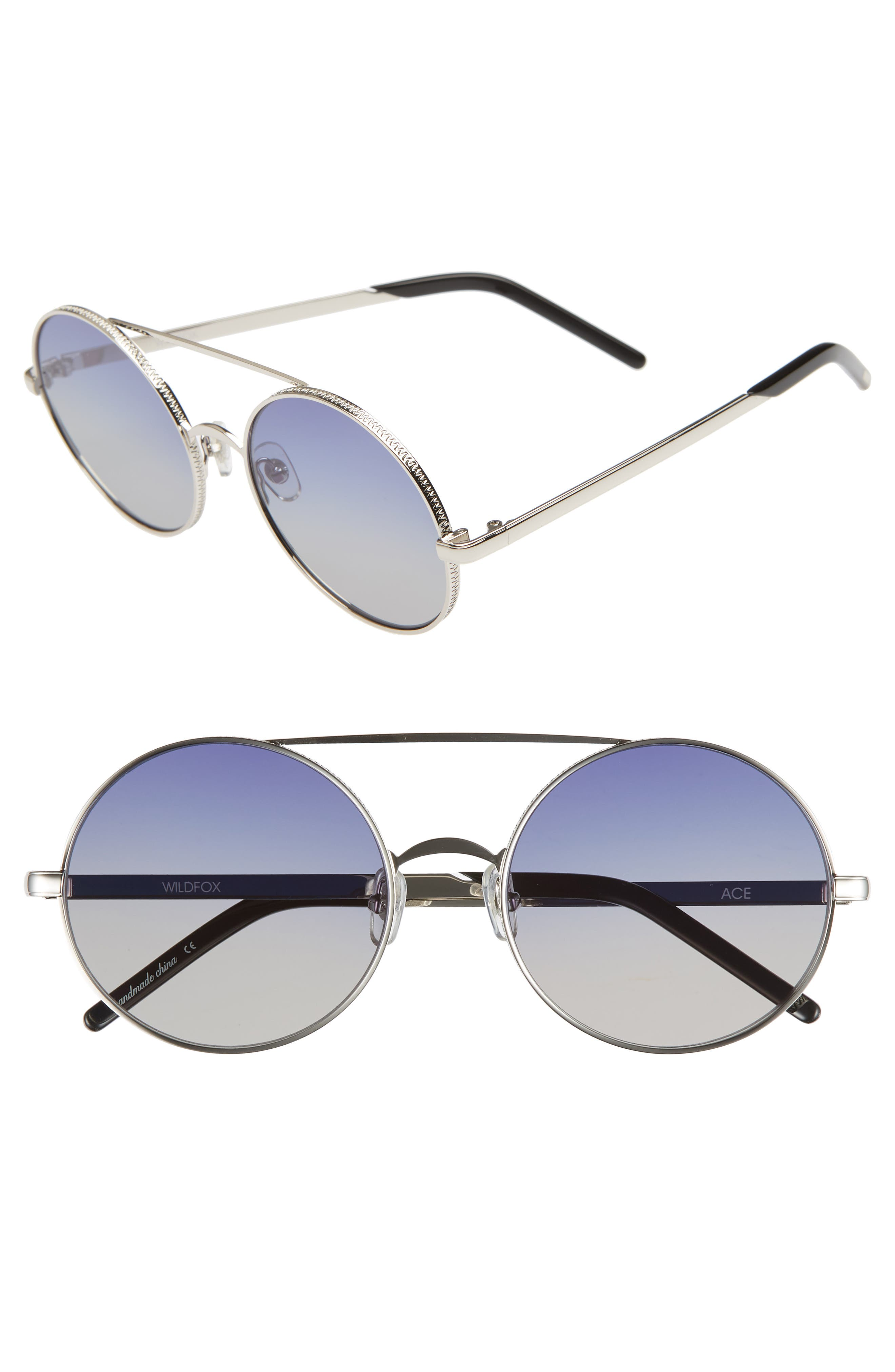 WILDFOX,                             Ace 55mm Round Sunglasses,                             Main thumbnail 1, color,                             040