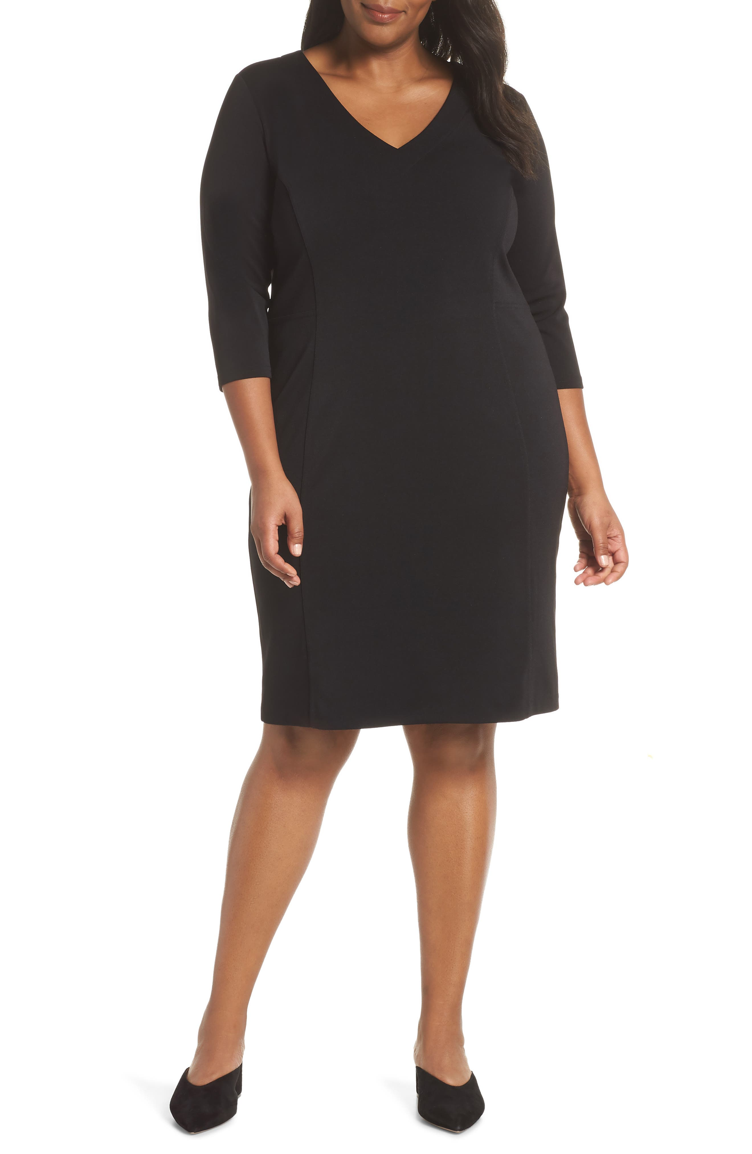 Seamed Crepe Dress,                             Main thumbnail 1, color,                             BLACK