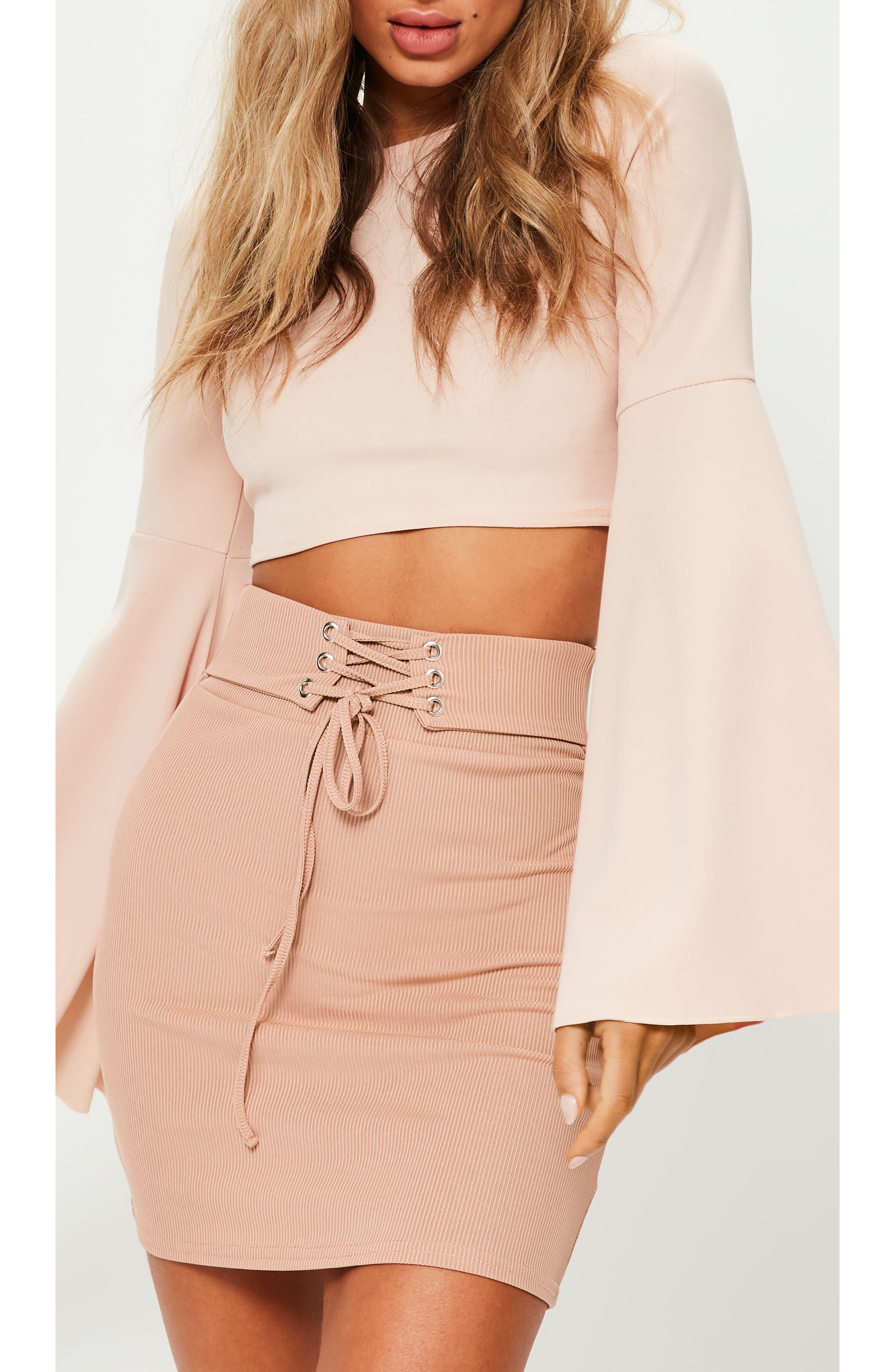 Ribbed Lace-Up Waist Miniskirt,                             Alternate thumbnail 4, color,                             274