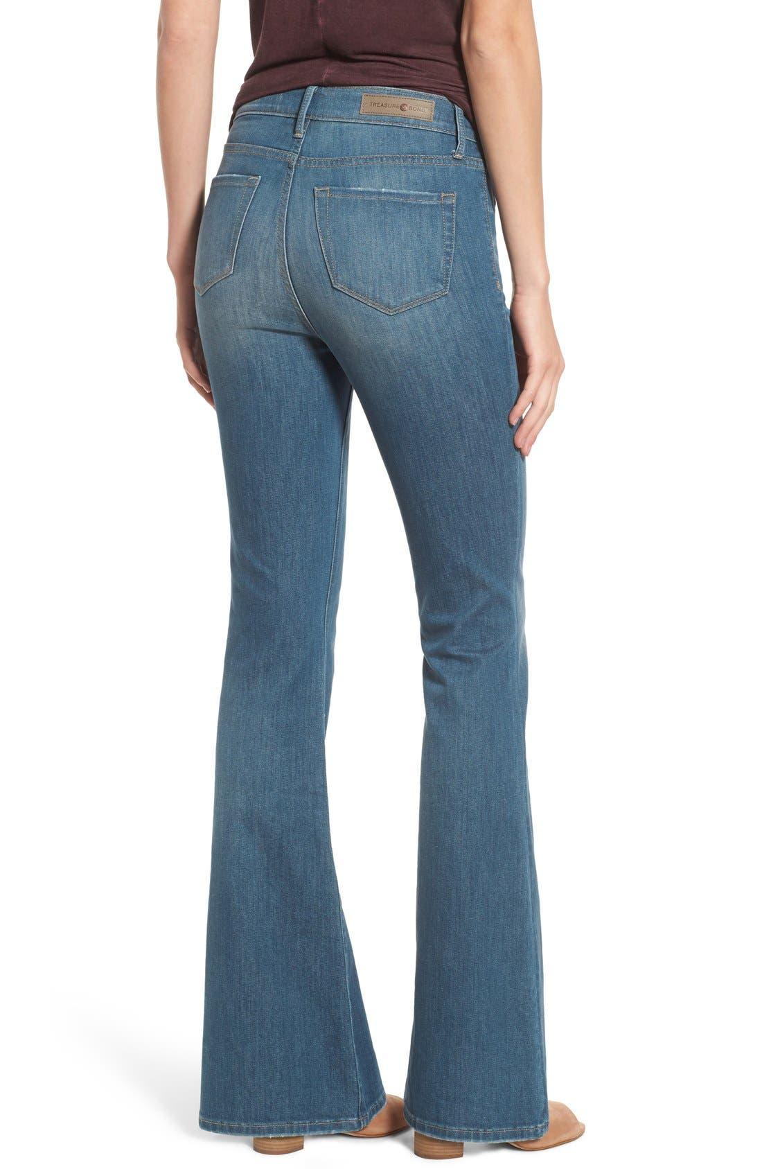 Treasure&Bond High Rise Skinny Flare Jeans,                             Alternate thumbnail 5, color,                             400