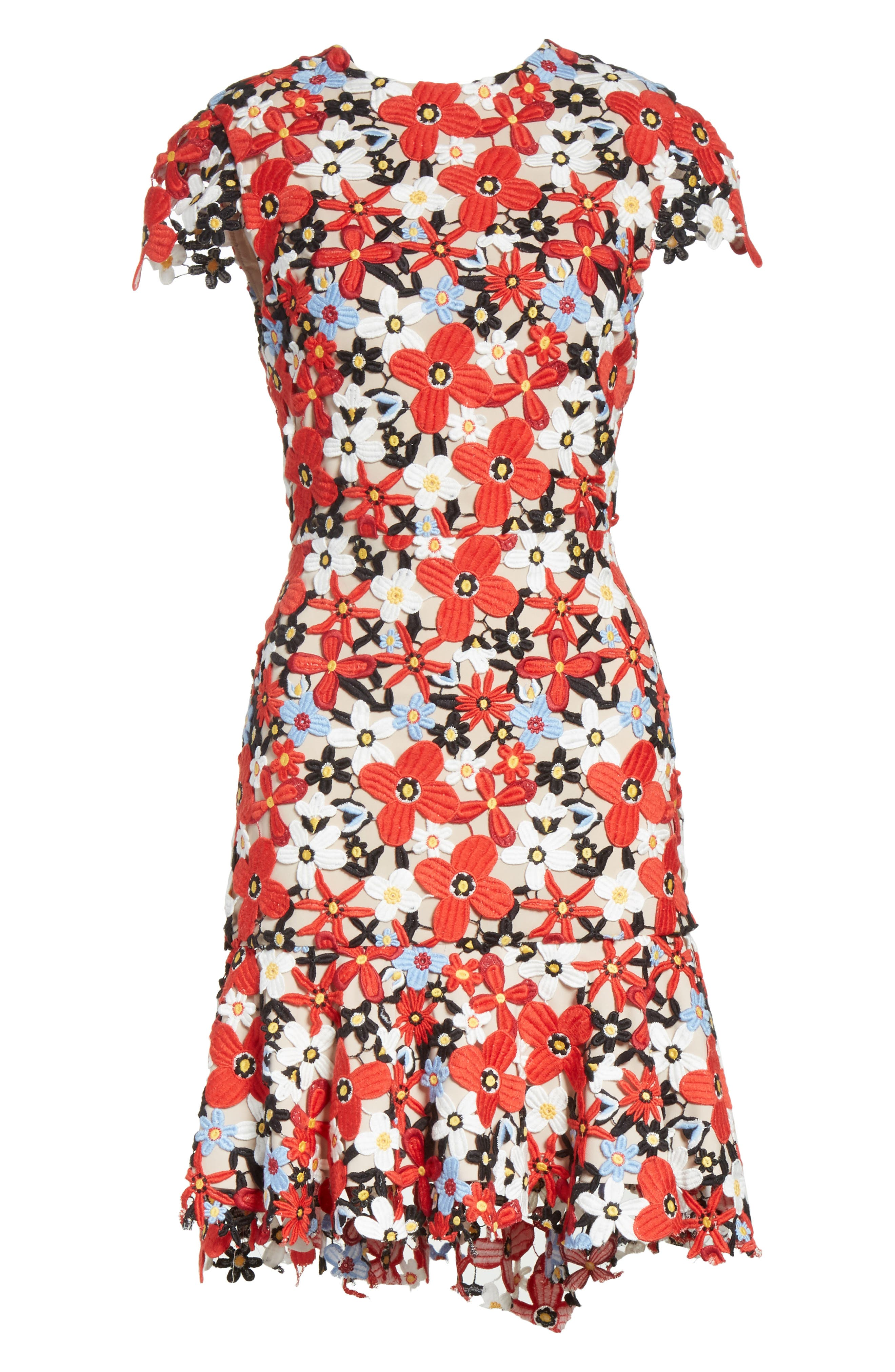 Imani Floral Fit & Flare Dress,                             Alternate thumbnail 6, color,                             606