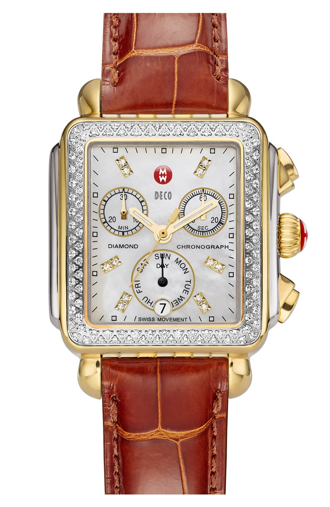 Deco Diamond Diamond Dial Two-Tone Watch Case, 33mm x 35mm,                             Main thumbnail 1, color,                             SILVER/ GOLD