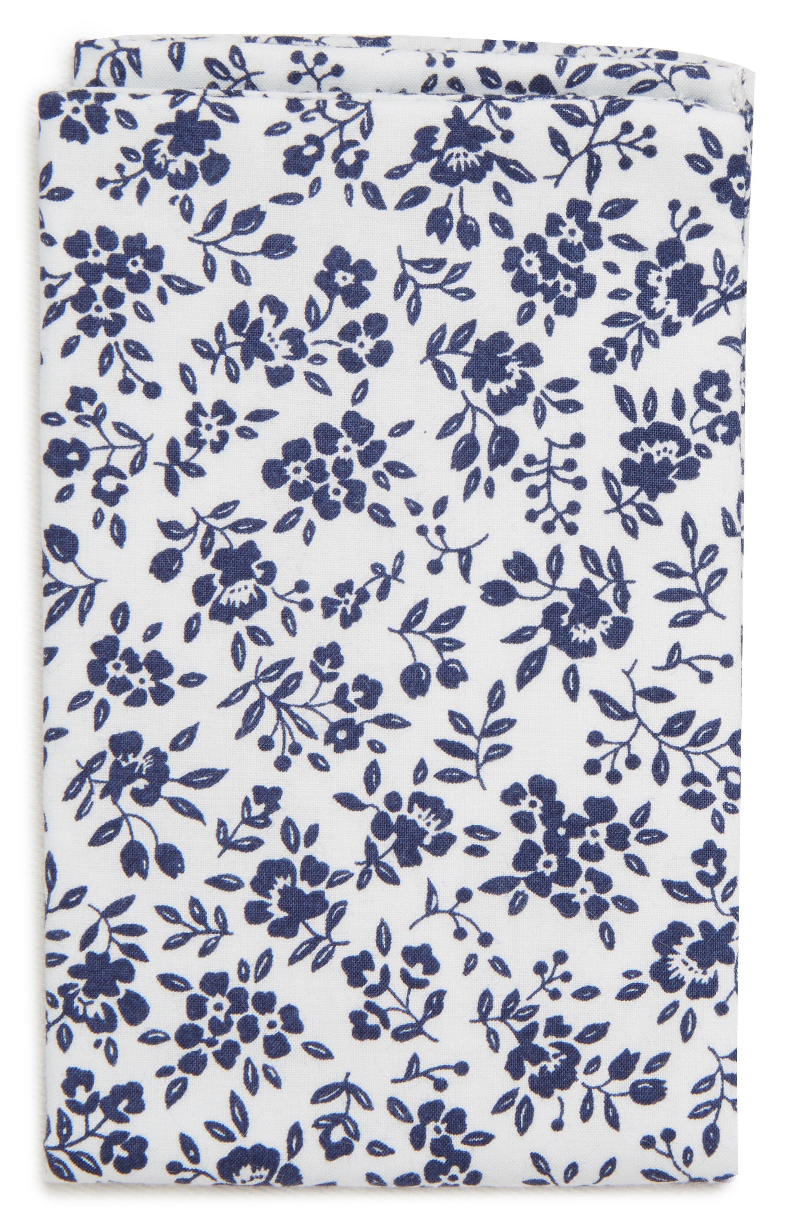 Floral Cotton Pocket Square,                         Main,                         color, 400