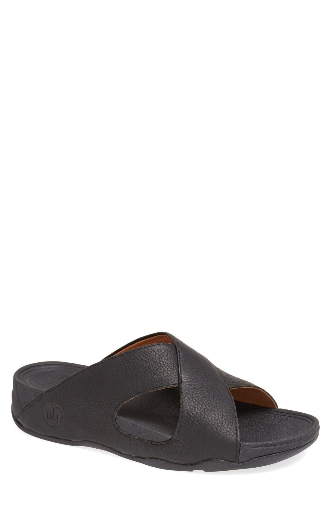 Xosa<sup>™</sup> Leather Slide Sandal,                         Main,                         color, 001