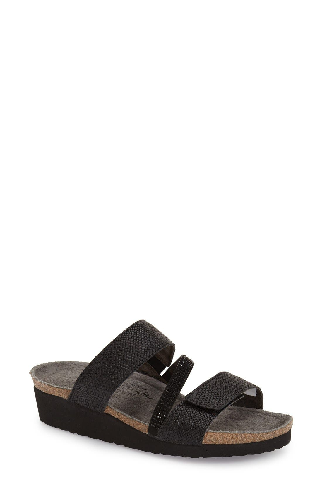 'Sheryl' Crystal Embellished Sandal,                         Main,                         color, BLACK SNAKE LEATHER