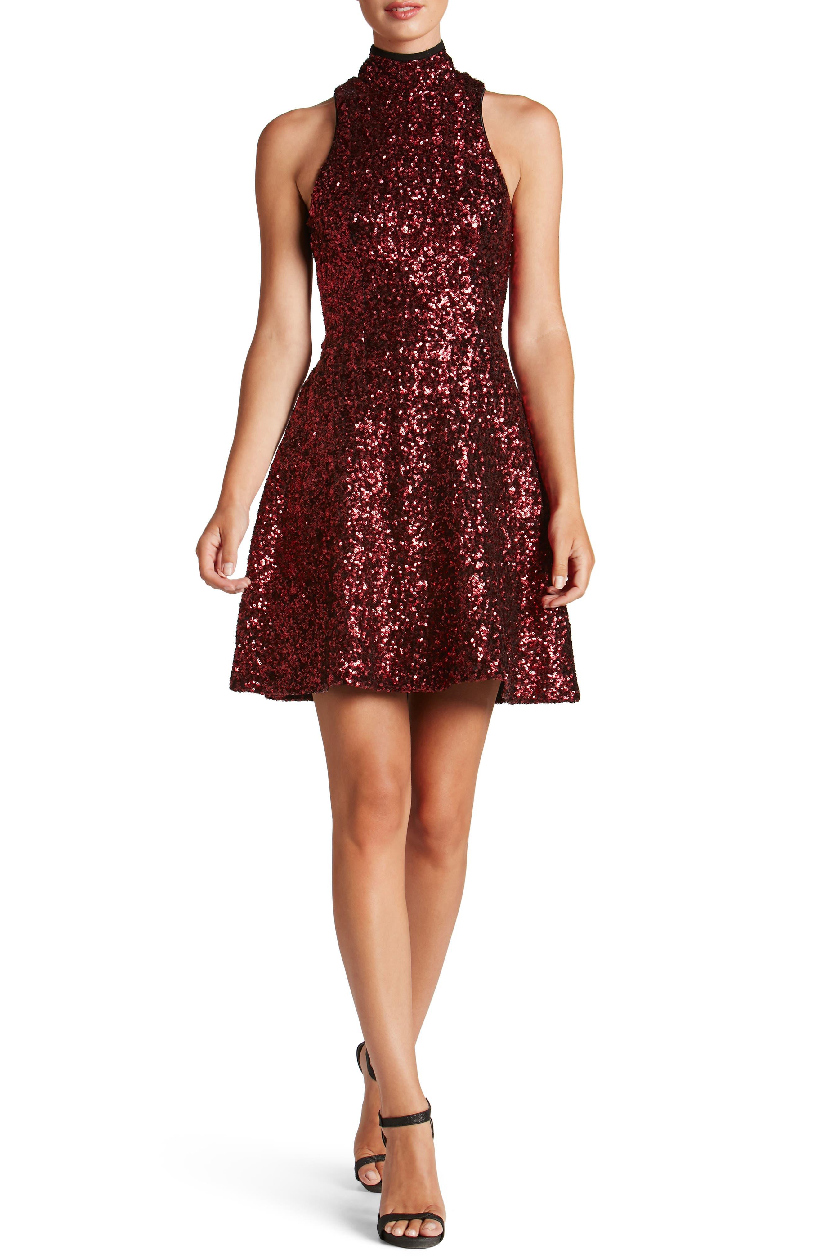 Stevie Sequin Fit & Flare Dress,                             Main thumbnail 2, color,