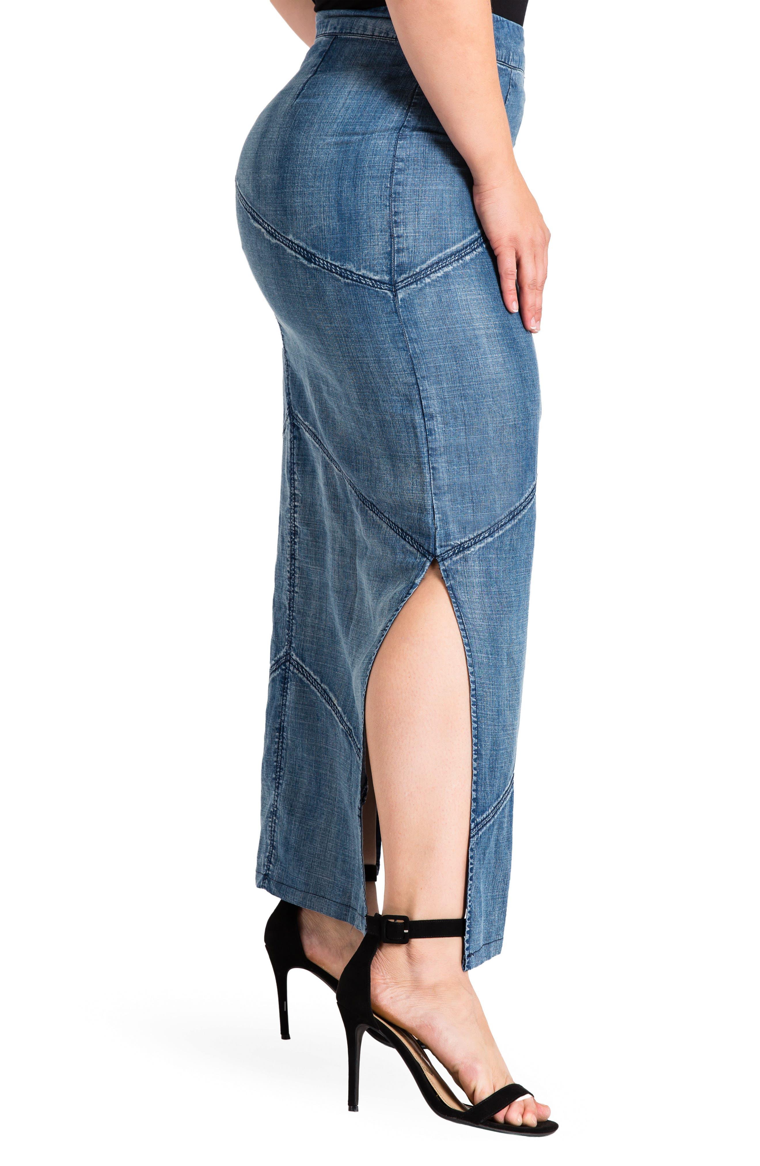 Paulina Maxi Pencil Skirt,                             Alternate thumbnail 3, color,                             DARK BLUE