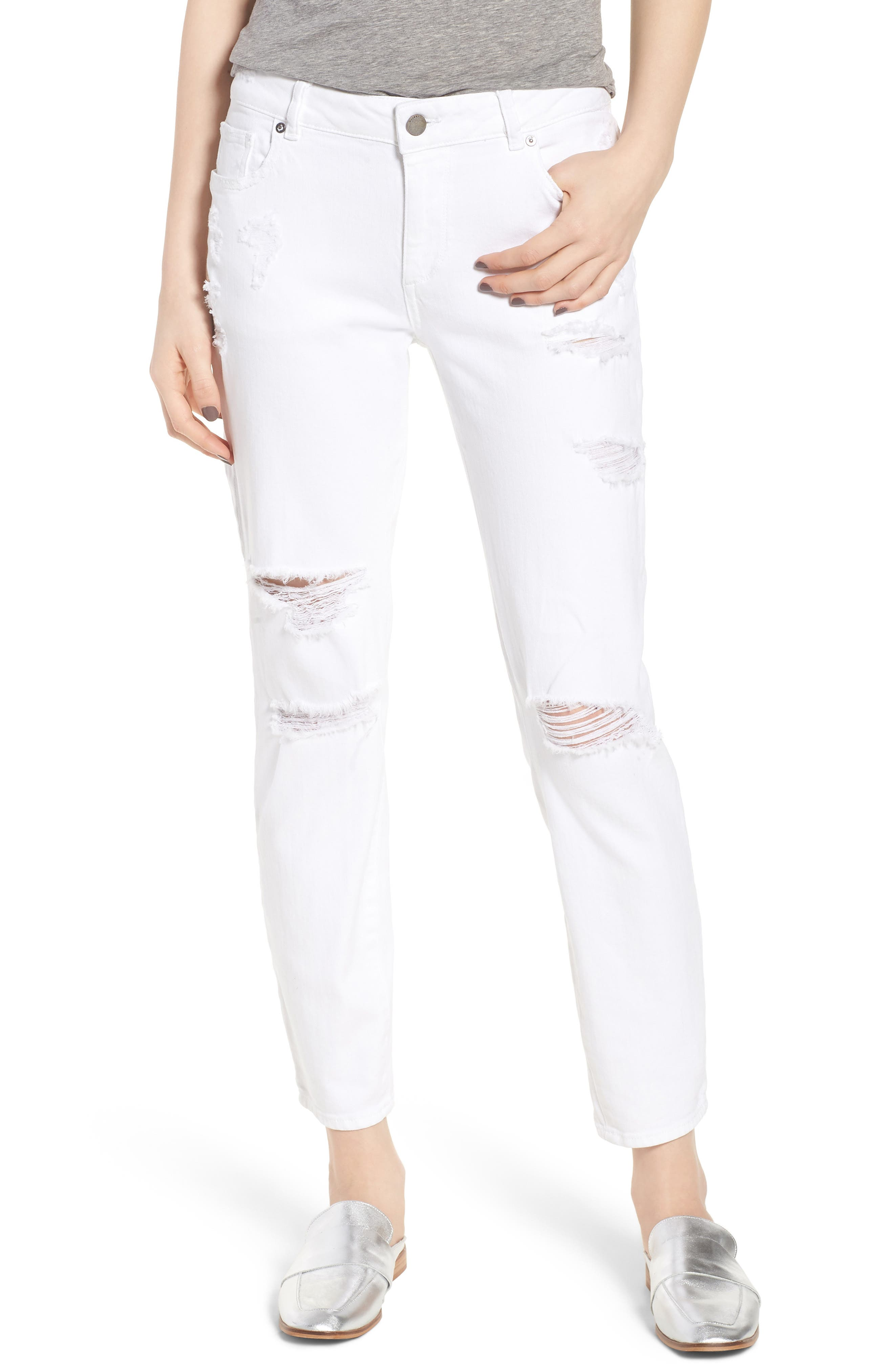 Davis Ripped Ankle Girlfriend Jeans,                         Main,                         color, 100
