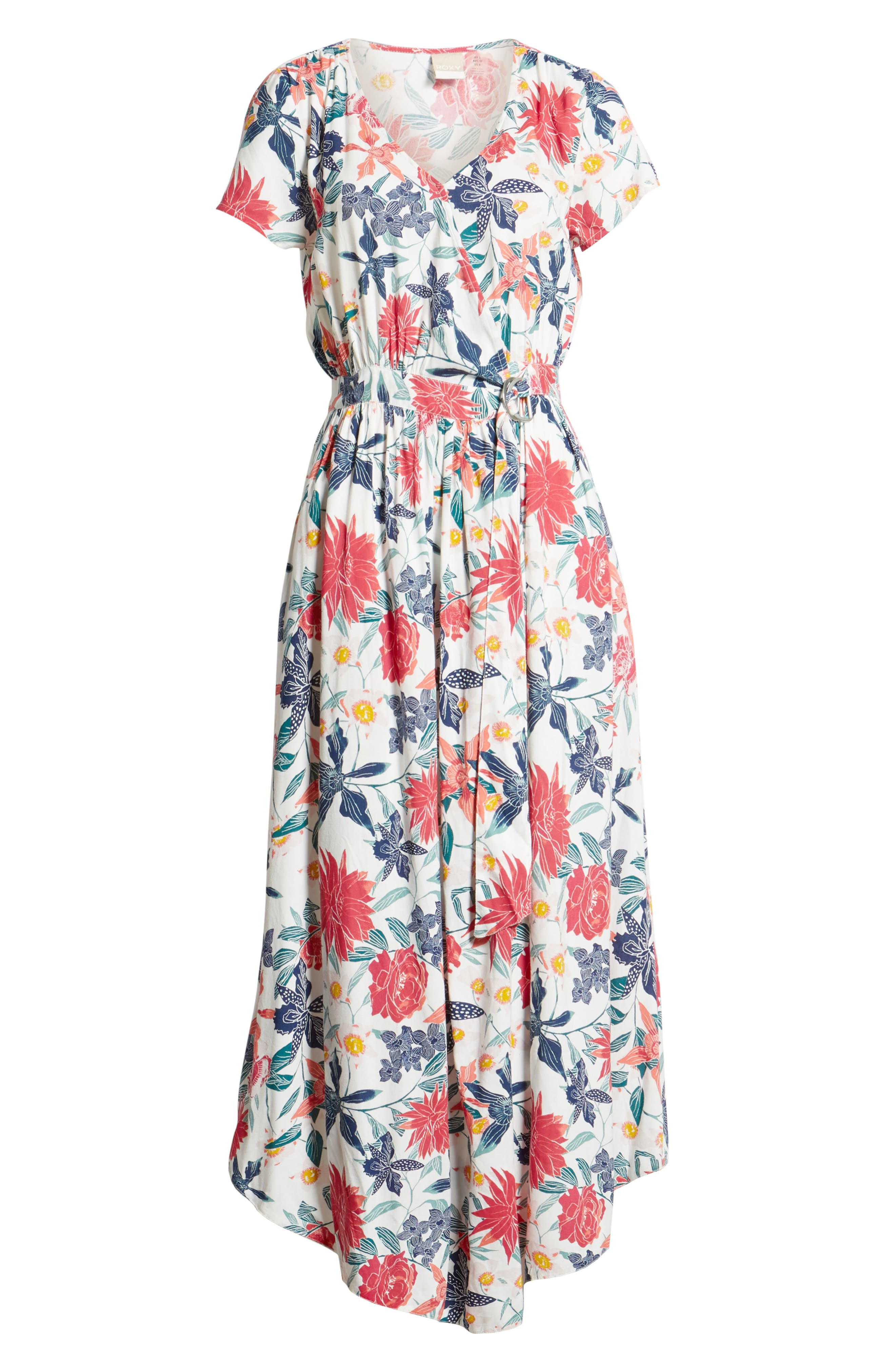 District Nights Floral Print Dress,                             Alternate thumbnail 8, color,                             MARSHMALLOW TALLOWS