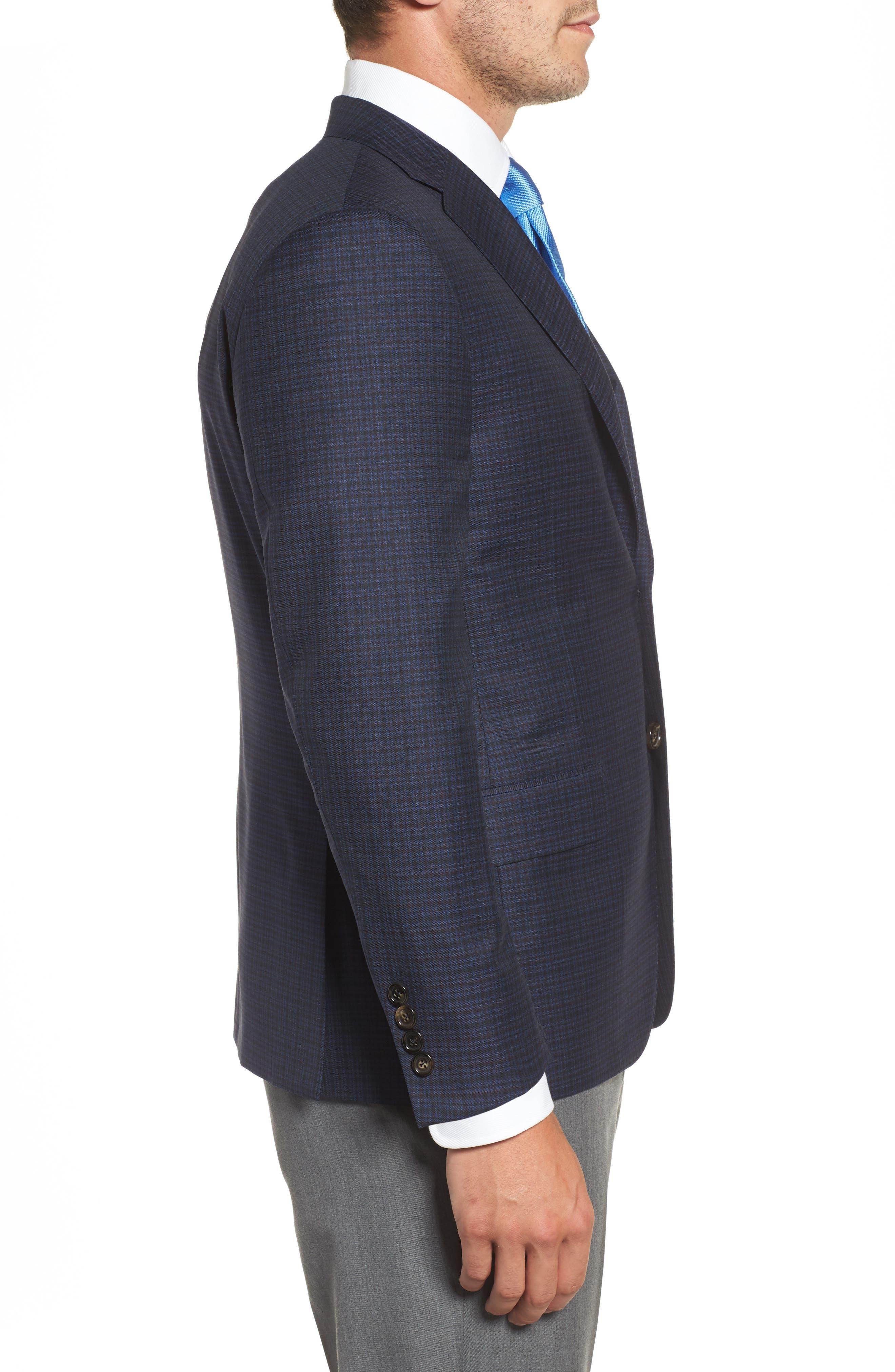 Classic B Fit Check Wool Sport Coat,                             Alternate thumbnail 3, color,                             410