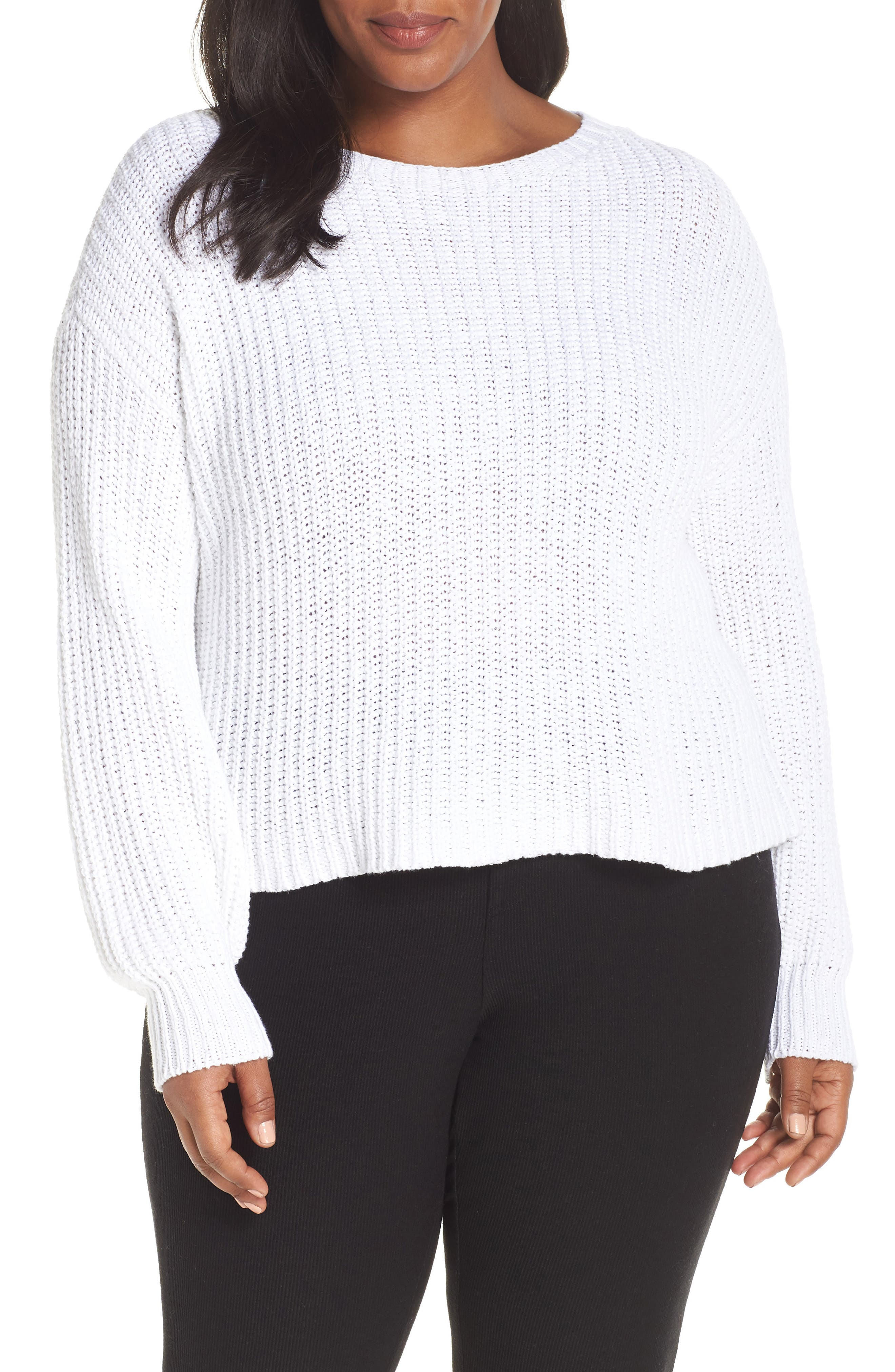 Crewneck Crop Shaker Sweater,                             Alternate thumbnail 2, color,                             WHITE