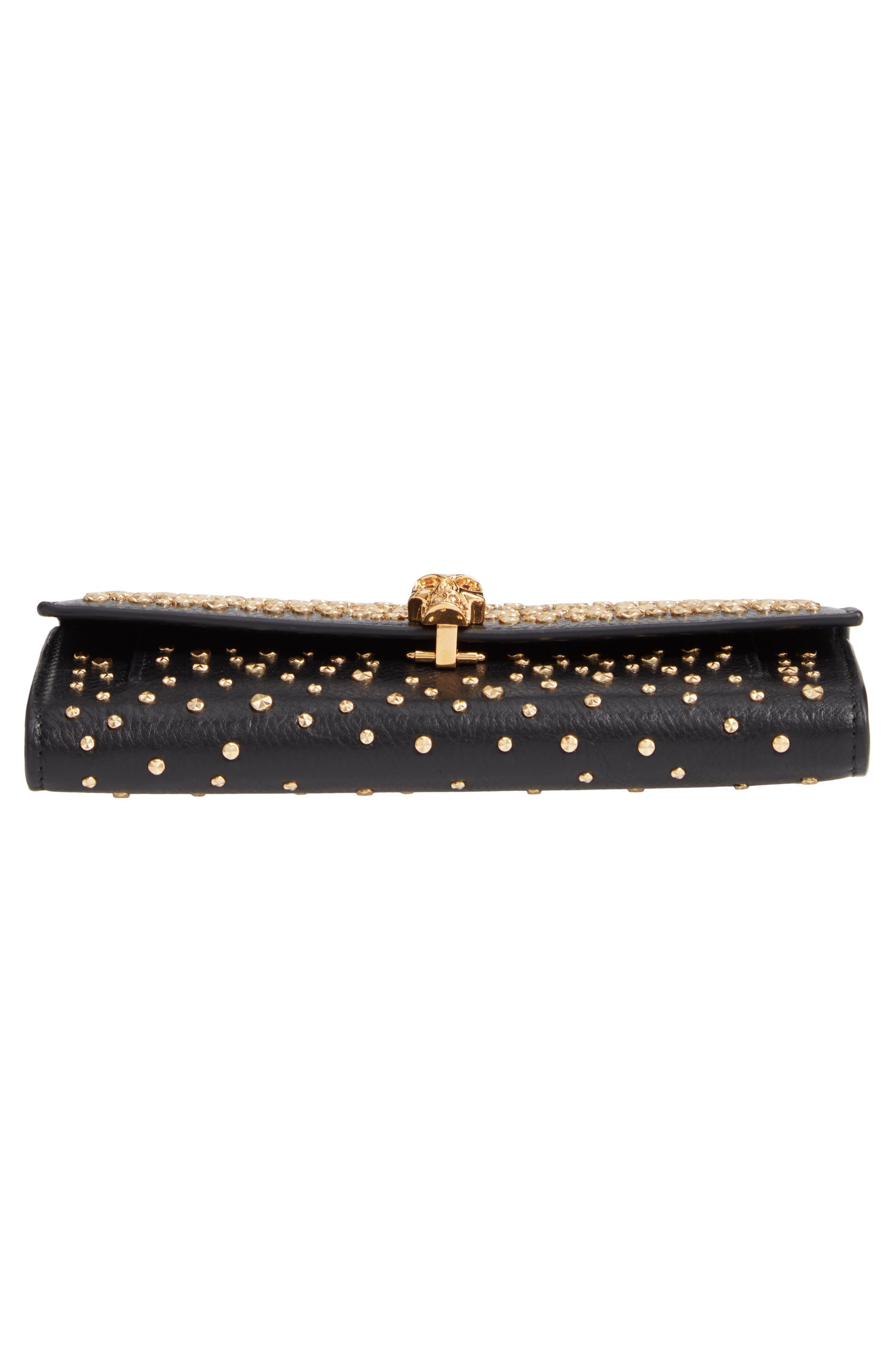 Studded Leather Wallet on a Chain,                             Alternate thumbnail 6, color,                             BLACK