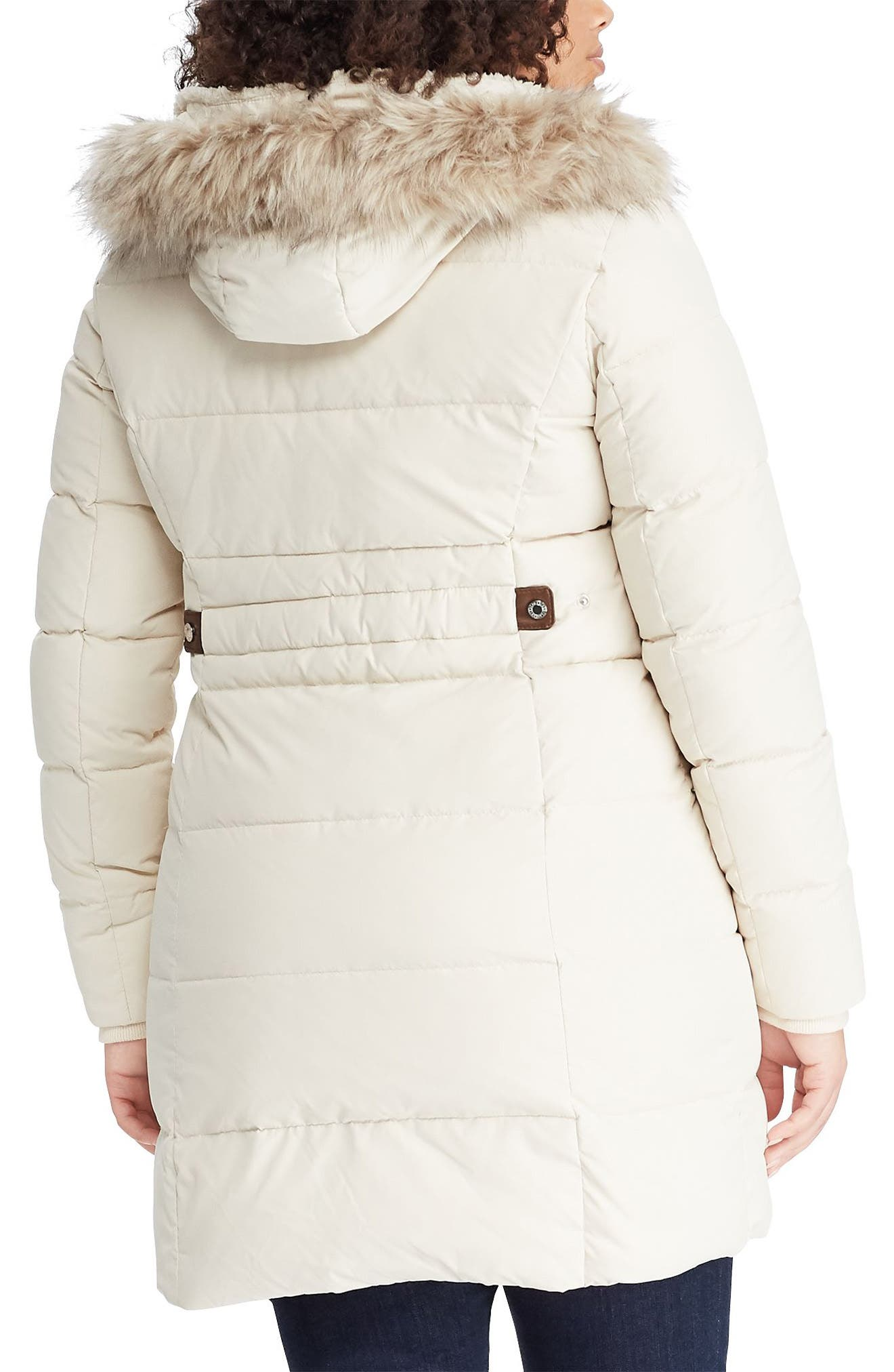 Quilted Down & Feather Fill Parka with Faux Fur Trim,                             Alternate thumbnail 2, color,                             MODA CREAM