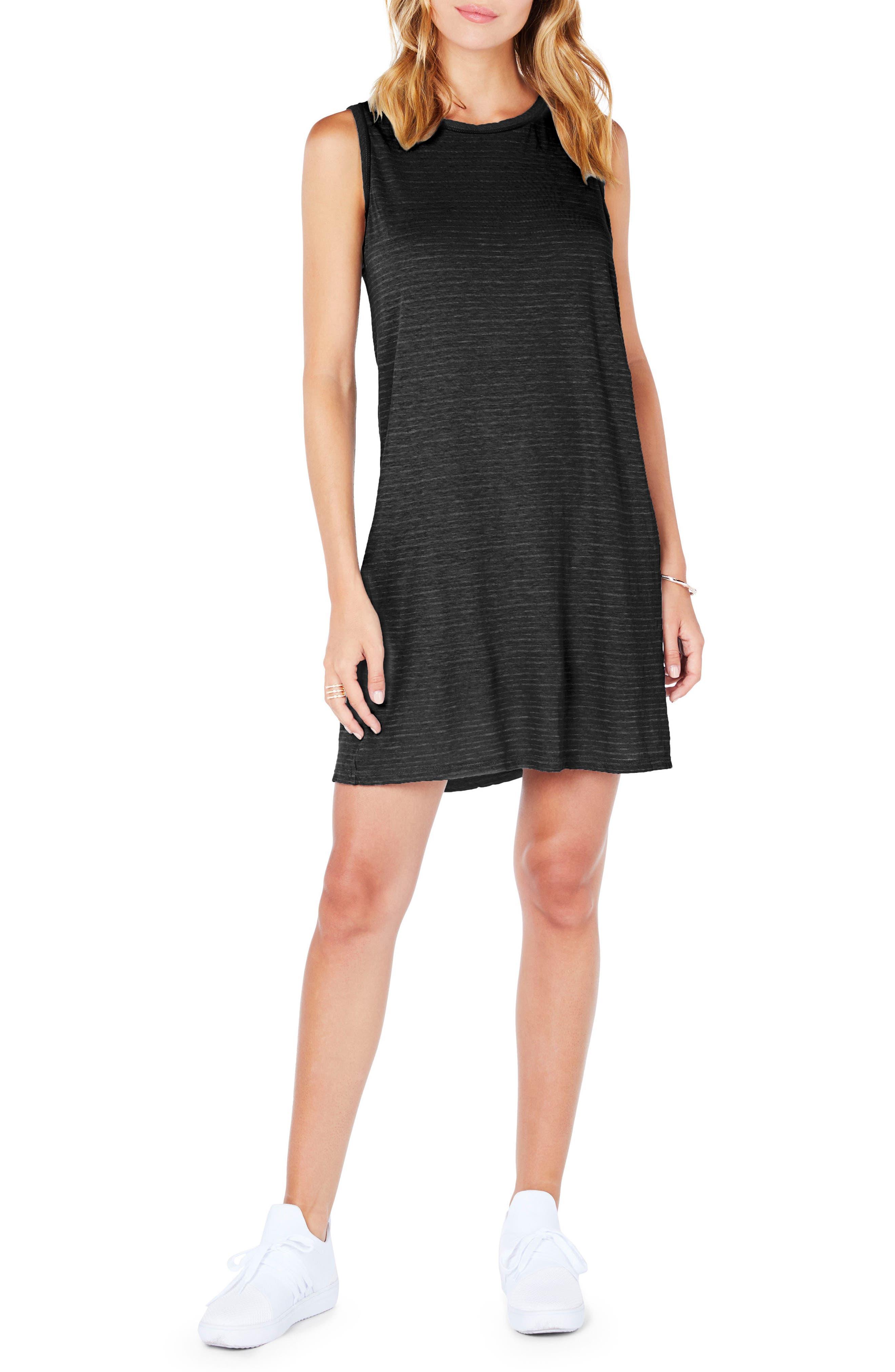 Ringer Stripe Tank Dress,                             Main thumbnail 1, color,                             001