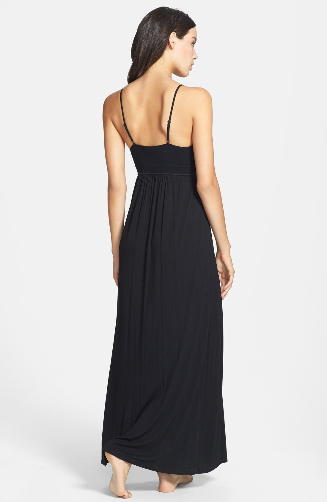 DONNA KARAN NEW YORK,                             Donna Karan Liquid Jersey Empire Waist Nightgown,                             Alternate thumbnail 3, color,                             001