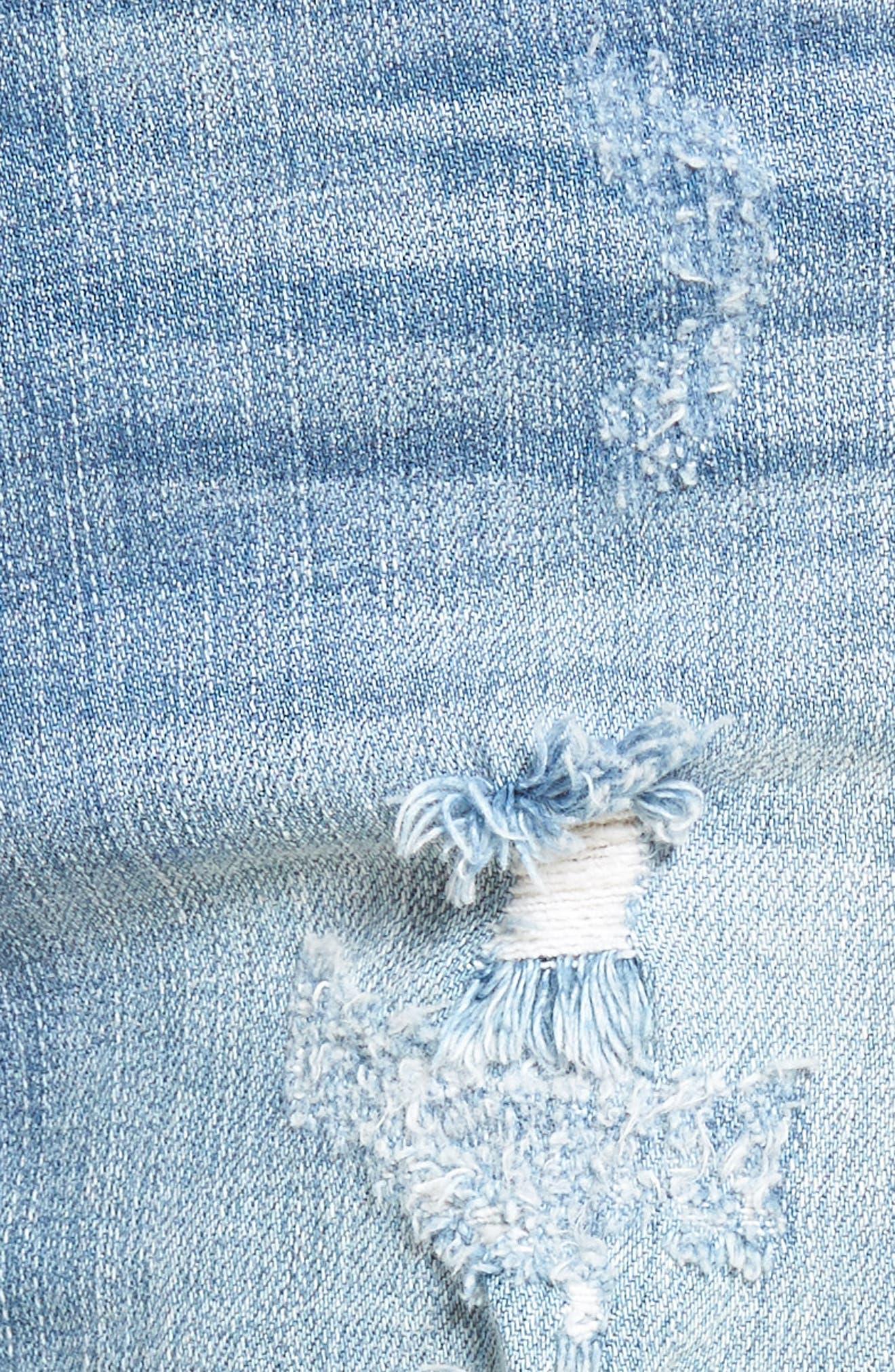 High Waist Frayed Hem Shorts,                             Alternate thumbnail 6, color,