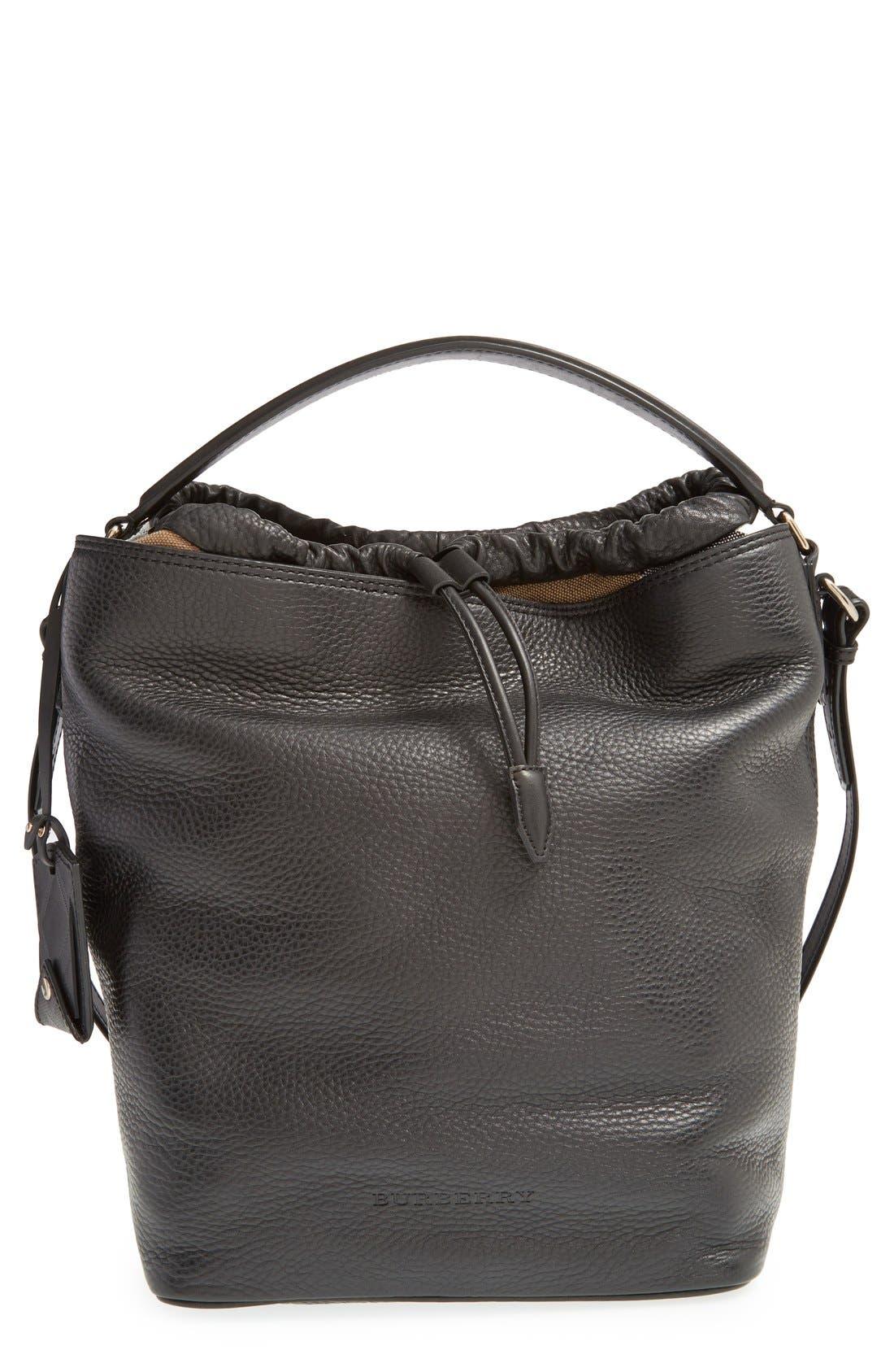Brit 'Medium Susanna' Leather & Canvas Check Hobo Bag,                             Main thumbnail 1, color,                             001