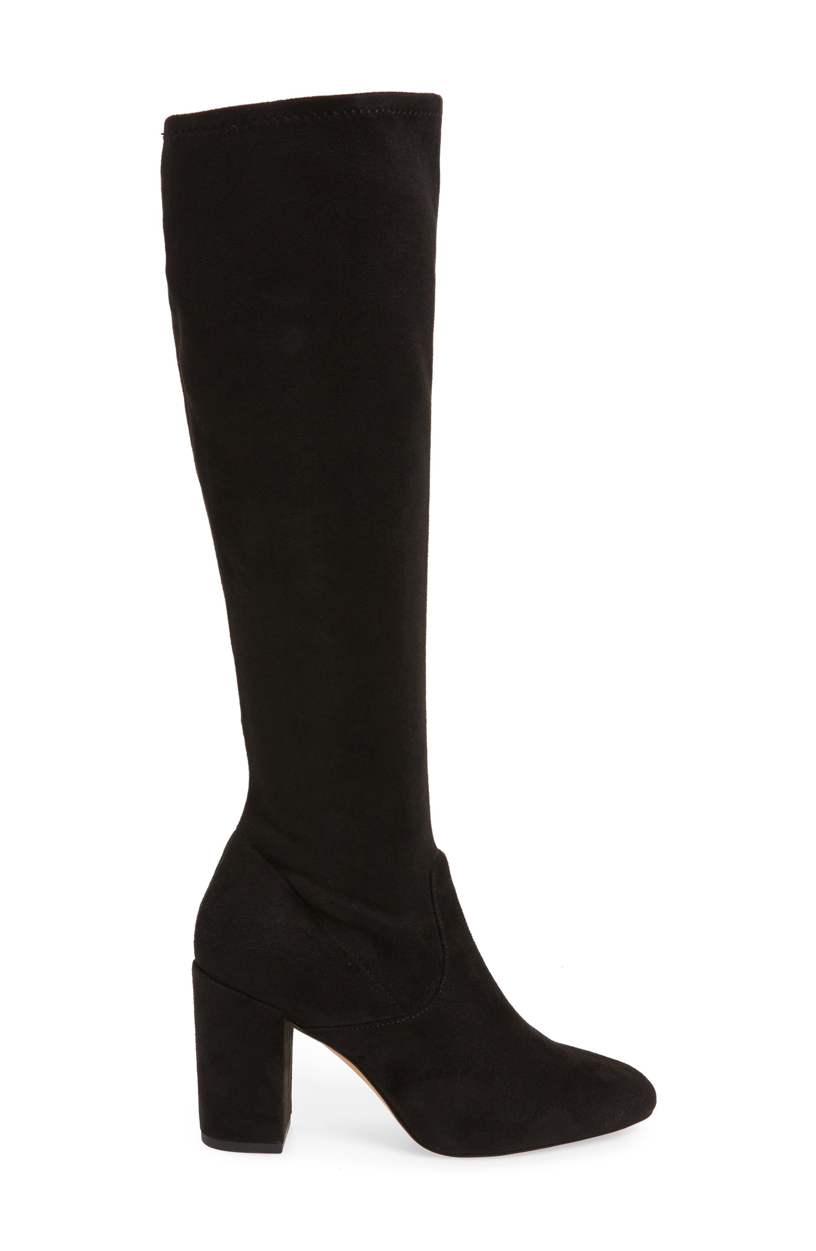 Gillian Knee High Boot,                             Alternate thumbnail 3, color,                             BLACK SUEDE